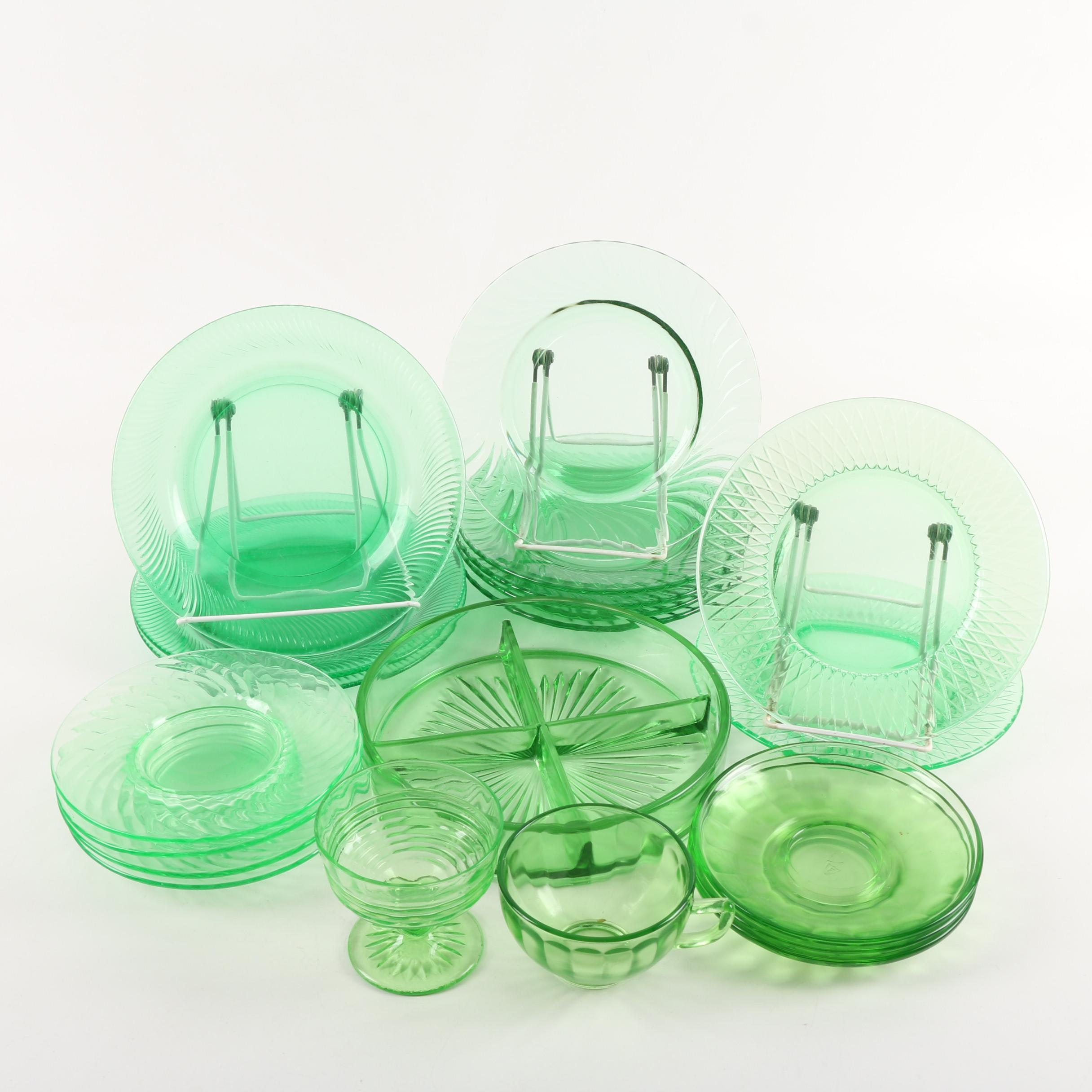 Vintage Green Depression Glass Dinnerware featuring Imperial Glass-Ohio