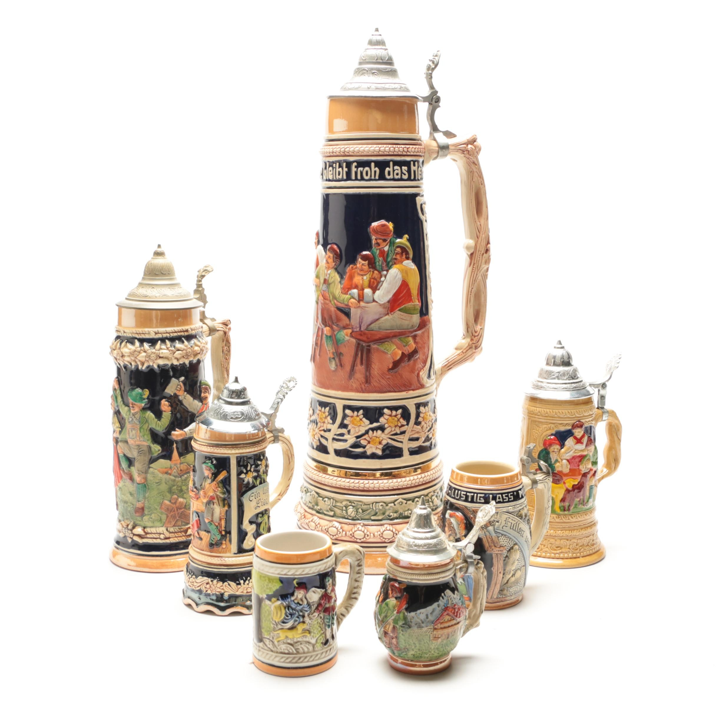 Collection of Seven Vintage German Beer Steins