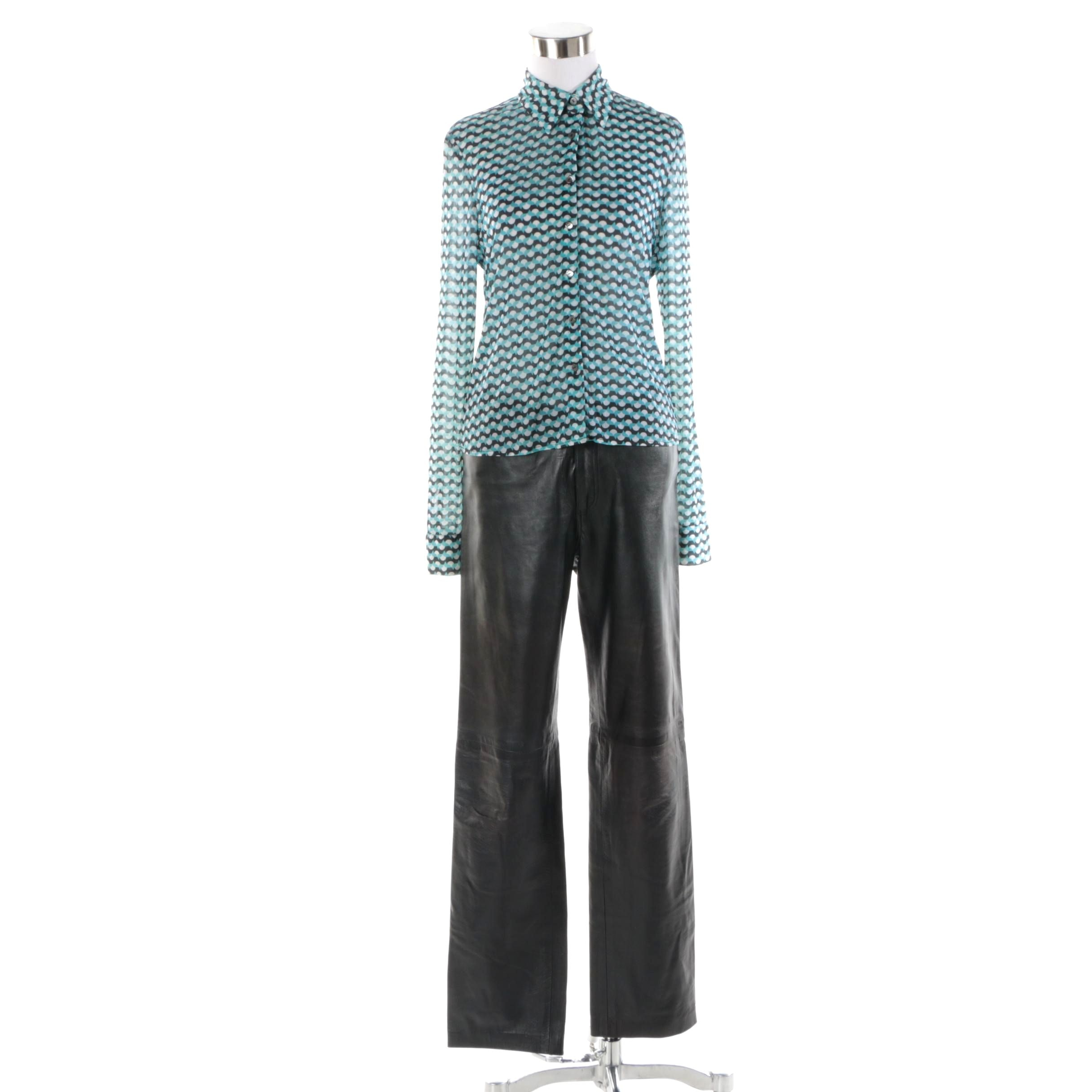 Women's John Patrick Silk Blend Button-Front Shirt and Faux Leather Pants