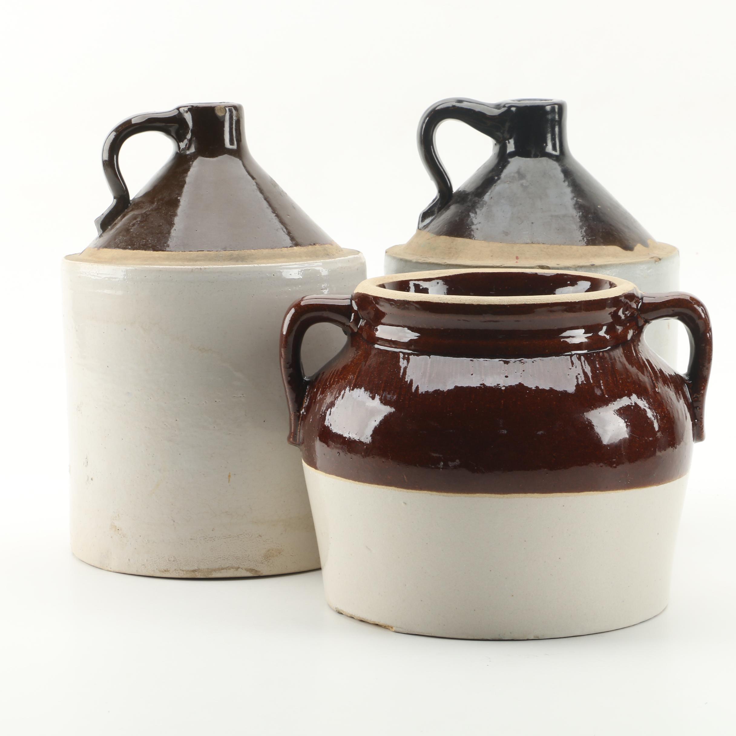 Vintage Stoneware Jugs and Robinson Ransbottom Four Quart Bean Pot