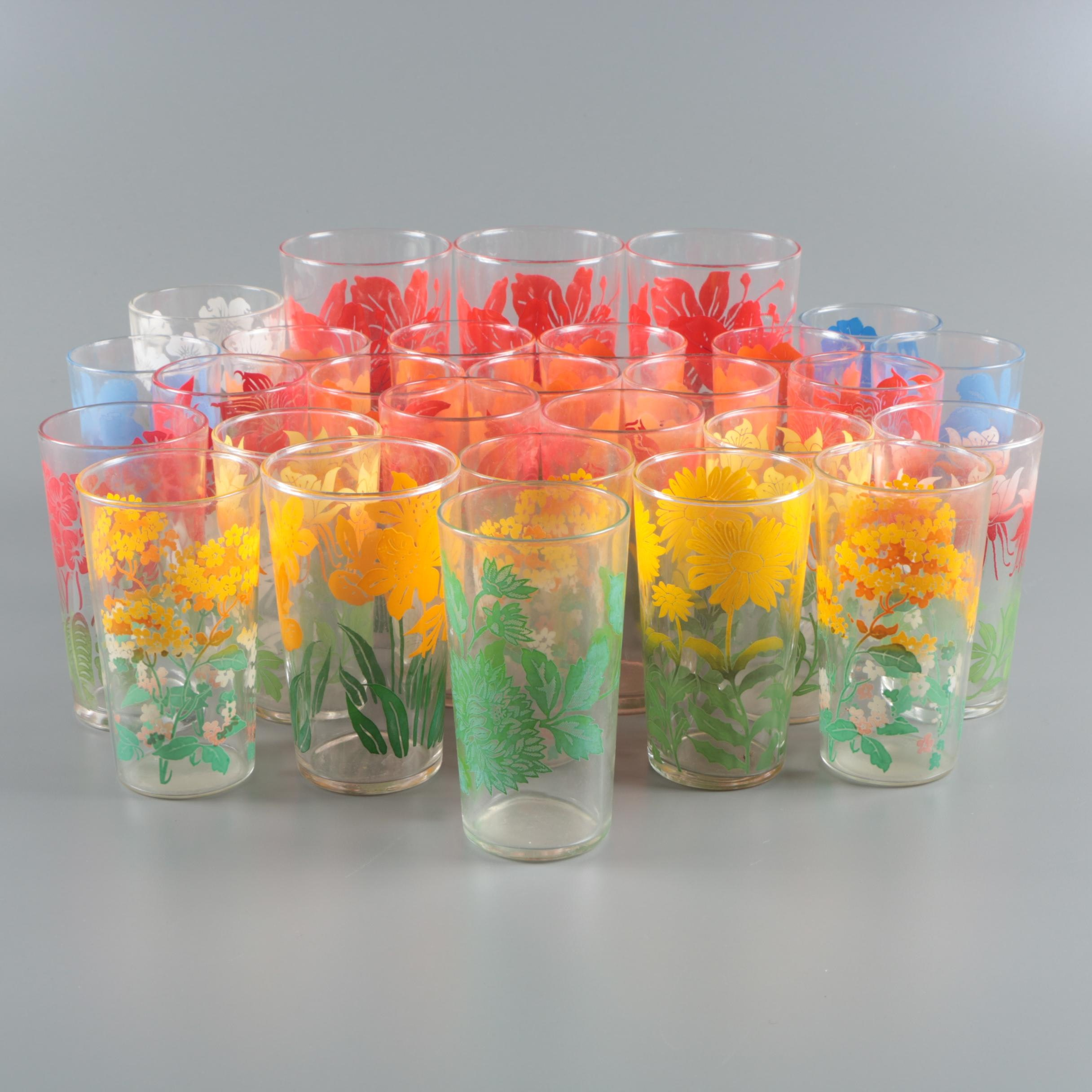 Collection of Colorful Floral Glasses, Circa 1950