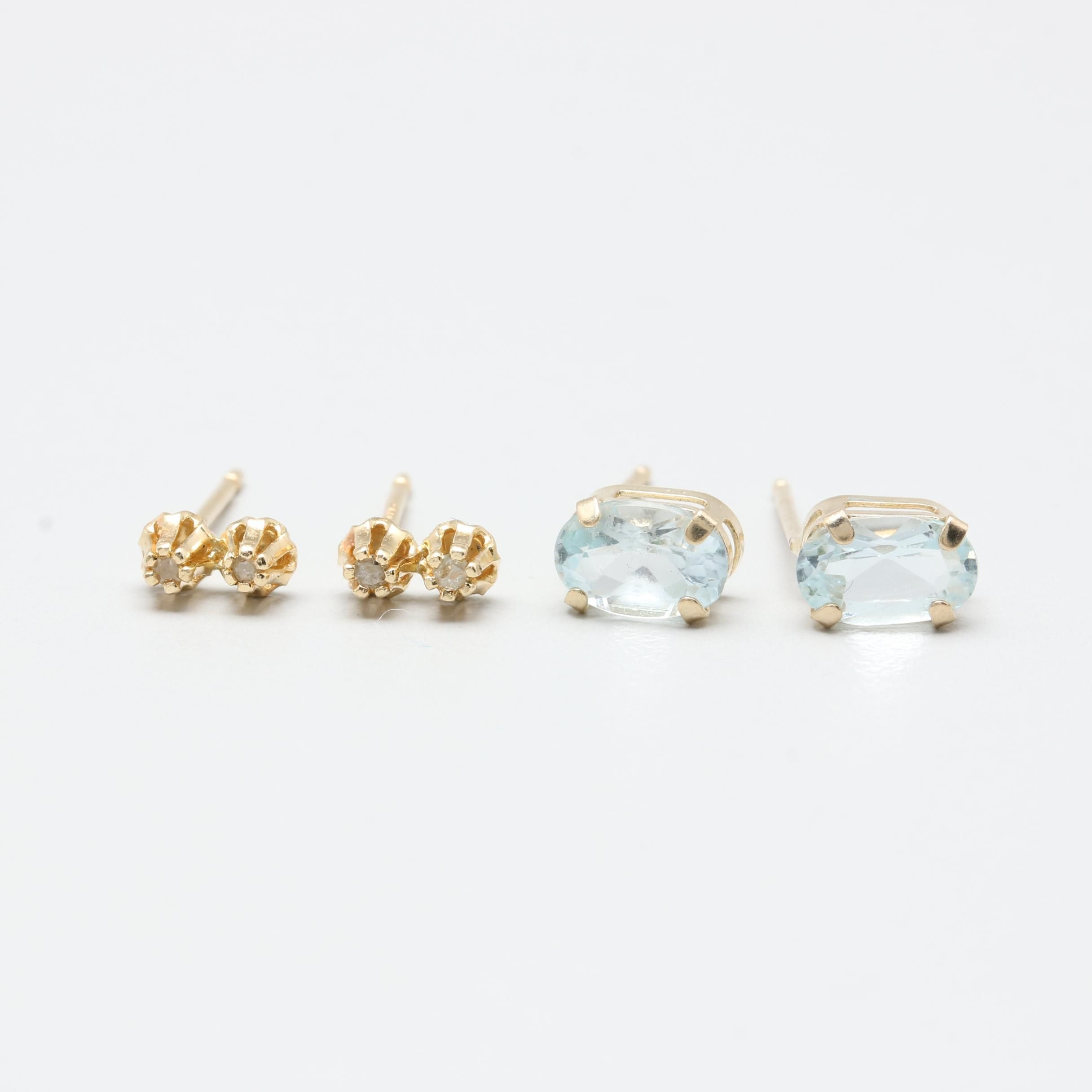 10K and 14K Yellow Gold Blue Topaz and Diamond Earrings