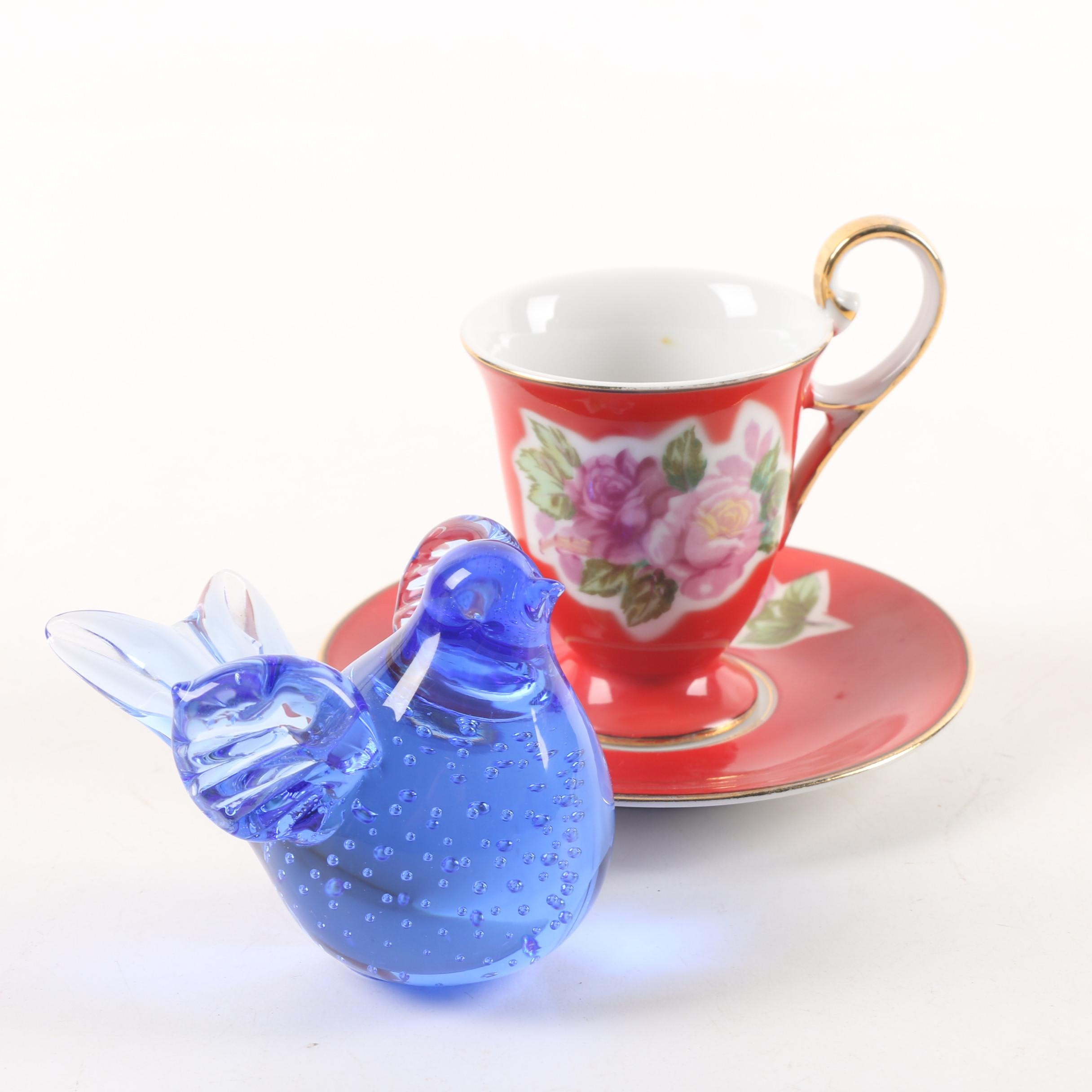 Enesco Art Glass Bird Paperweight and Porcelain Japanese Teacup with Saucer