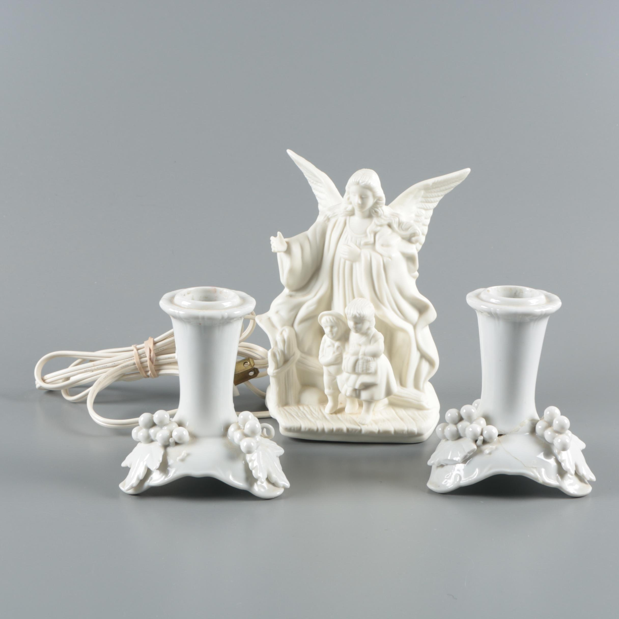 """Lefton """"Guardian Angel"""" Night Light with Arco Blanc de Chine Candleholders"""
