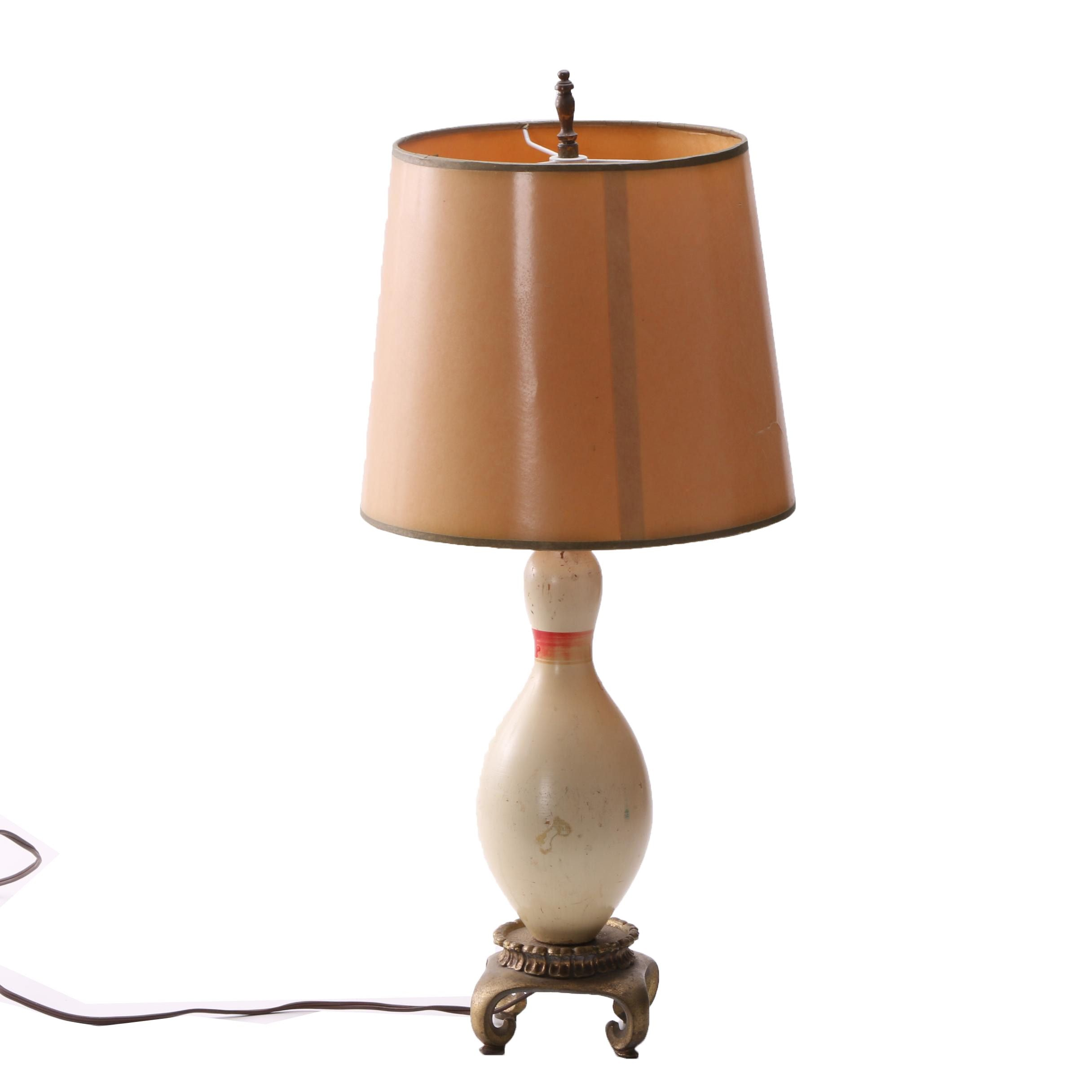 Vintage Table Lamp with Bowling Pin Base