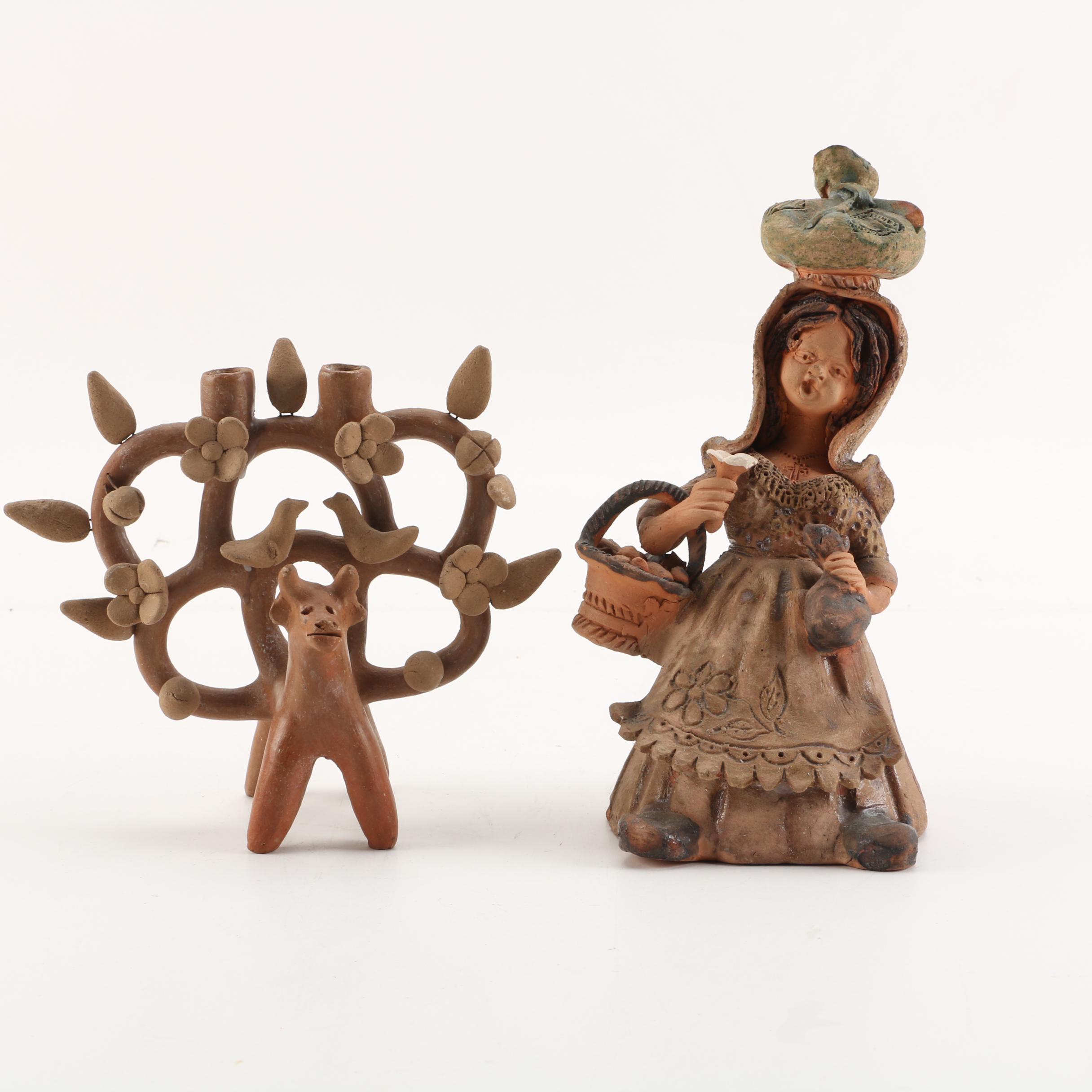 José Franco Hand-Built Terracotta Female Sculpture with Figurative Candleholder