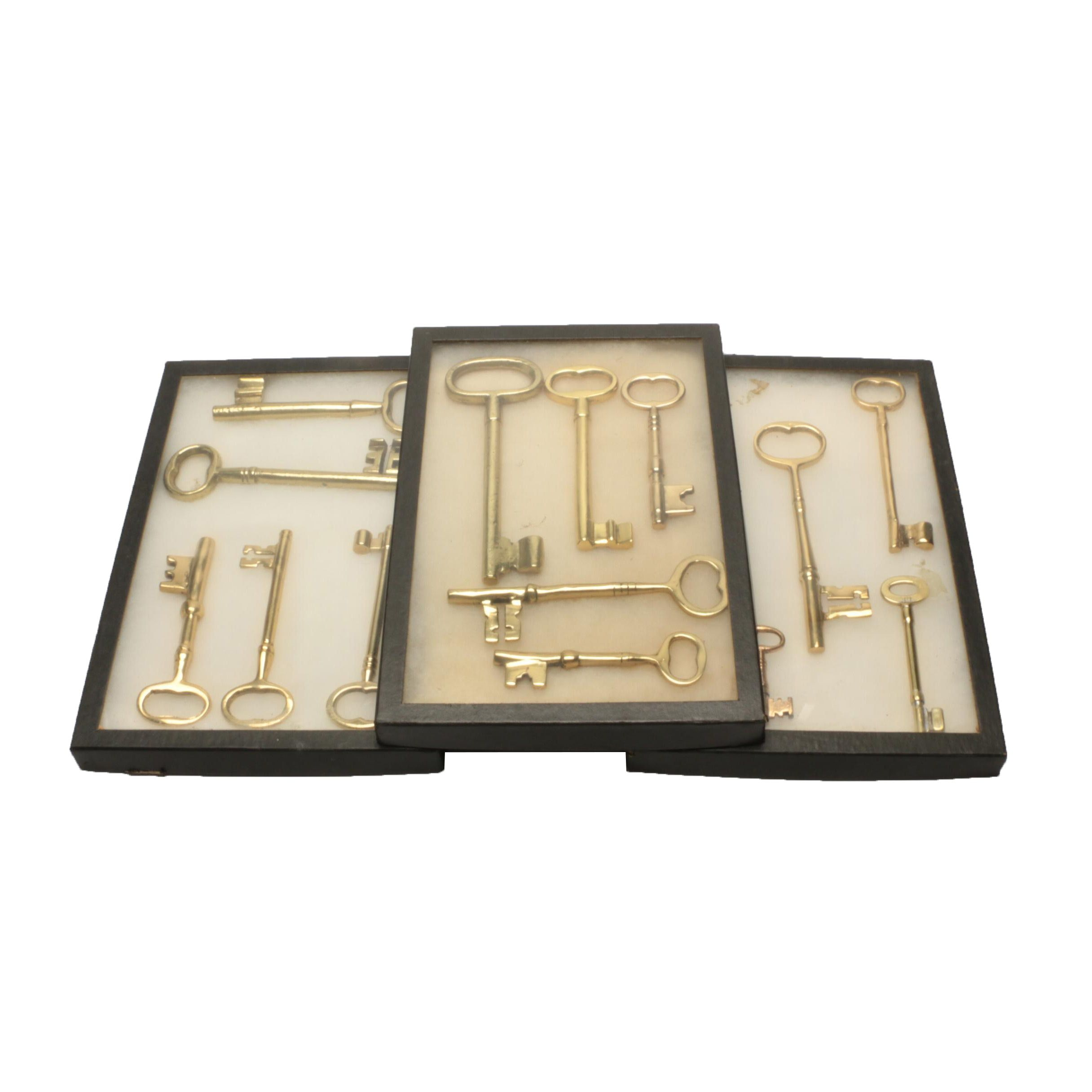 Large Brass Key Assortment in Display Cases