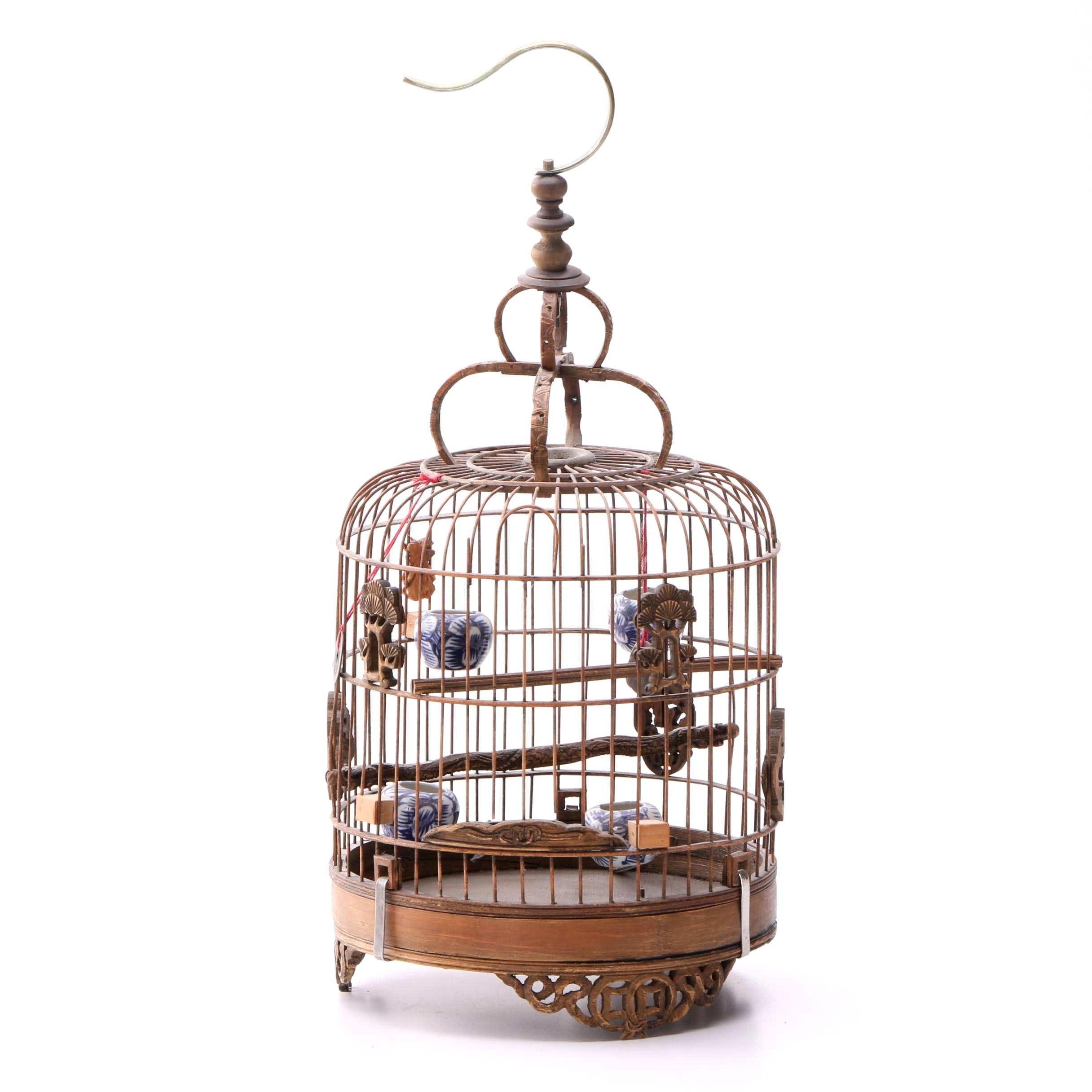 Vintage Chinese Decorative Wooden Bird Cage with Ceramic Vessels