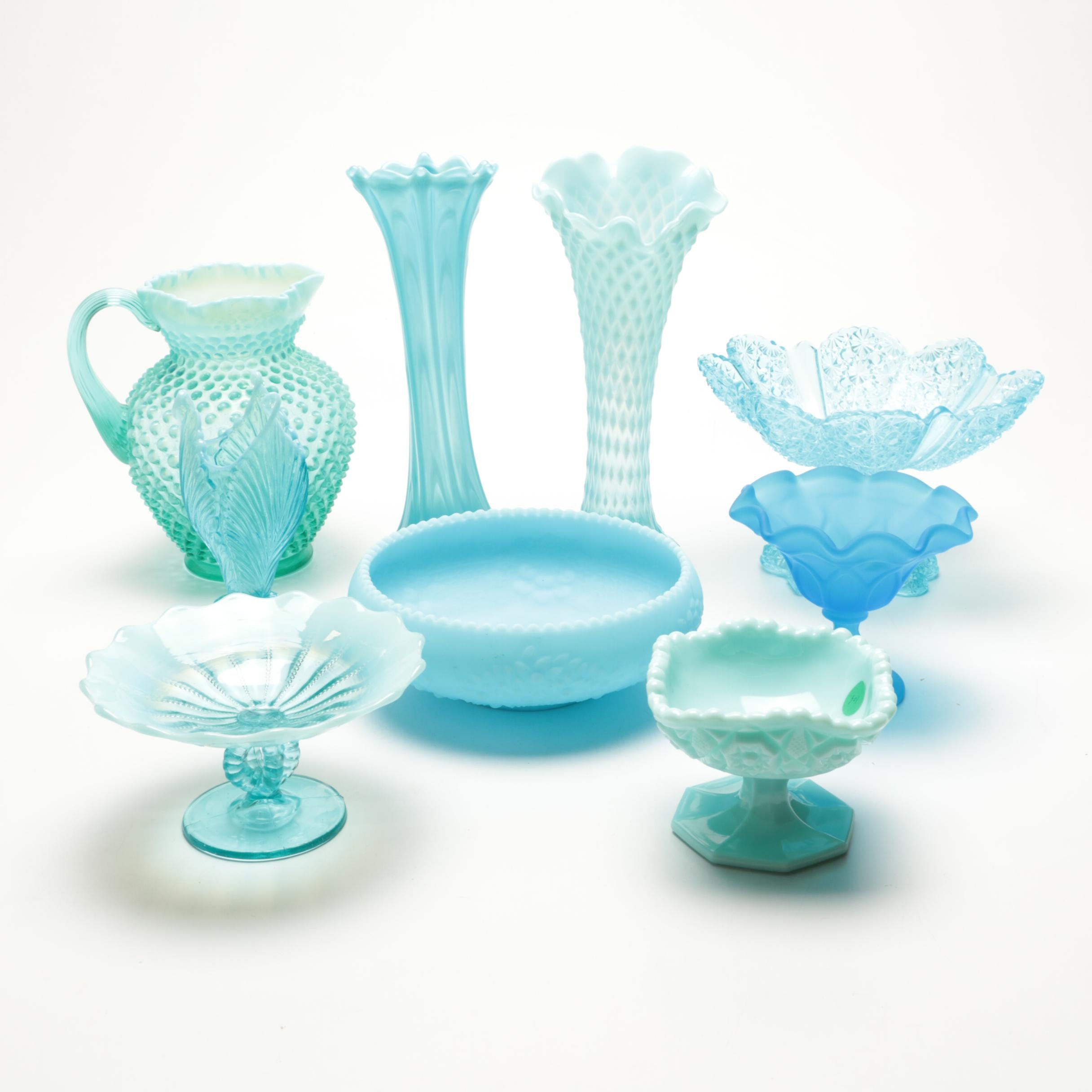 Collection of Glass Decor in Blue Including a Fenton Pitcher