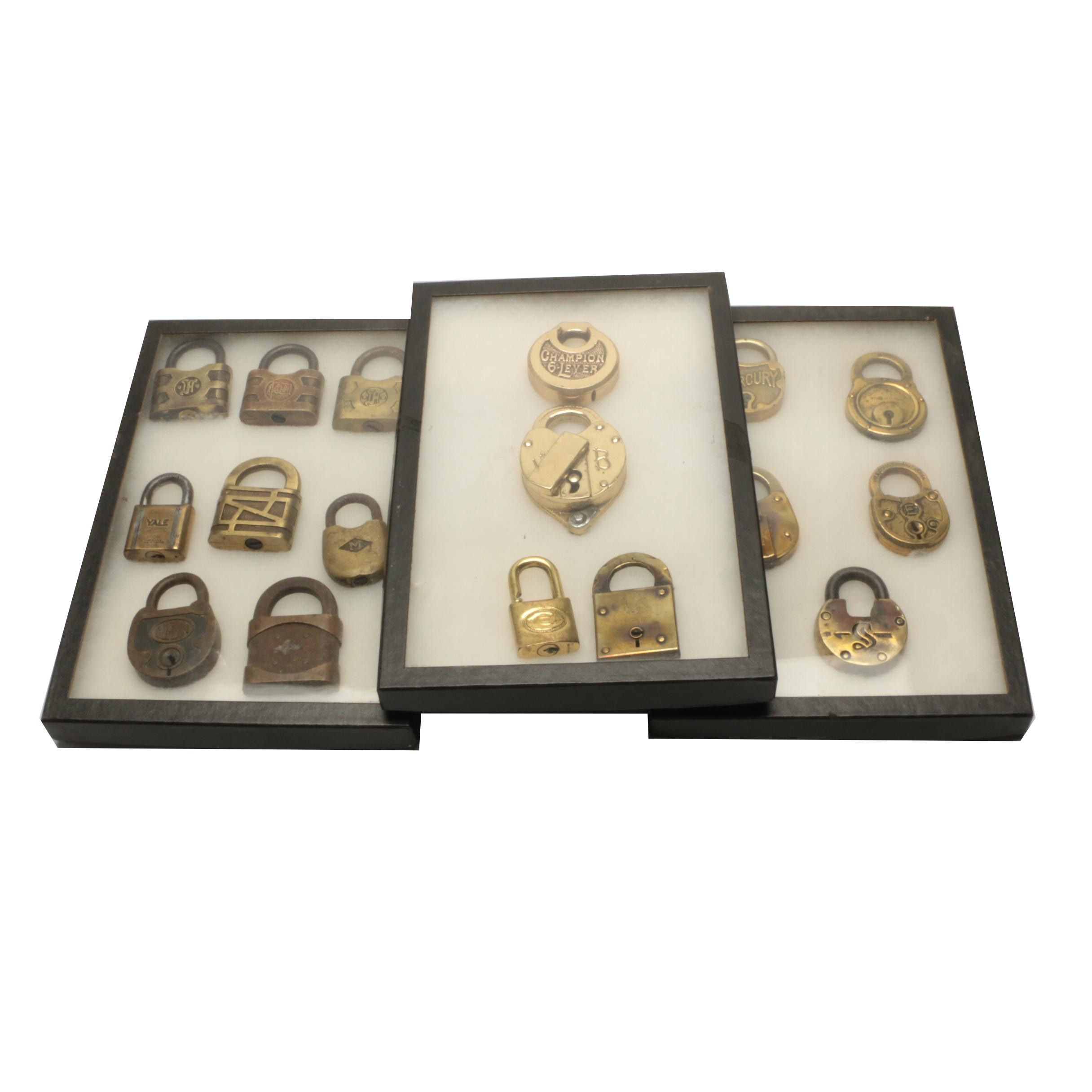Vintage Pad Lock Collection in Display Cases