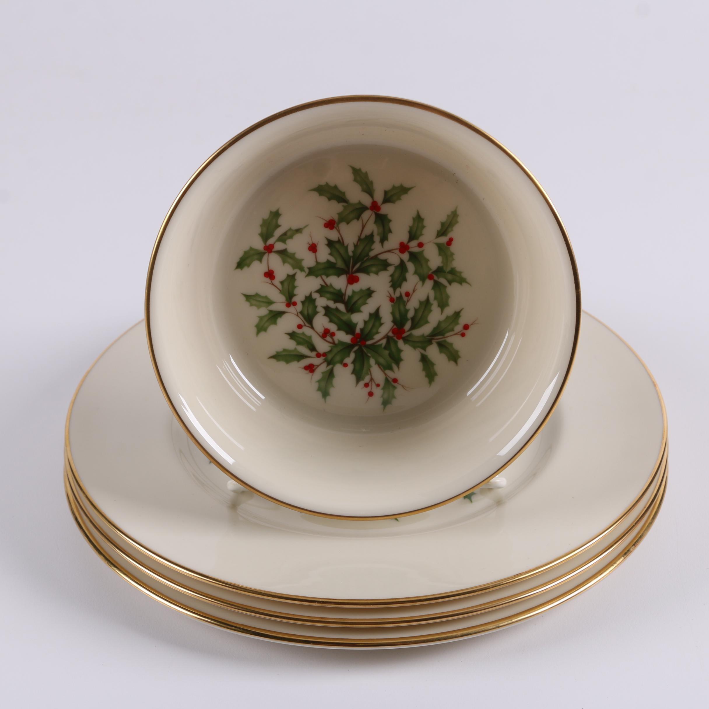 """Lenox """"Holiday Presidential"""" Bone China Salad Plates and Bowl"""