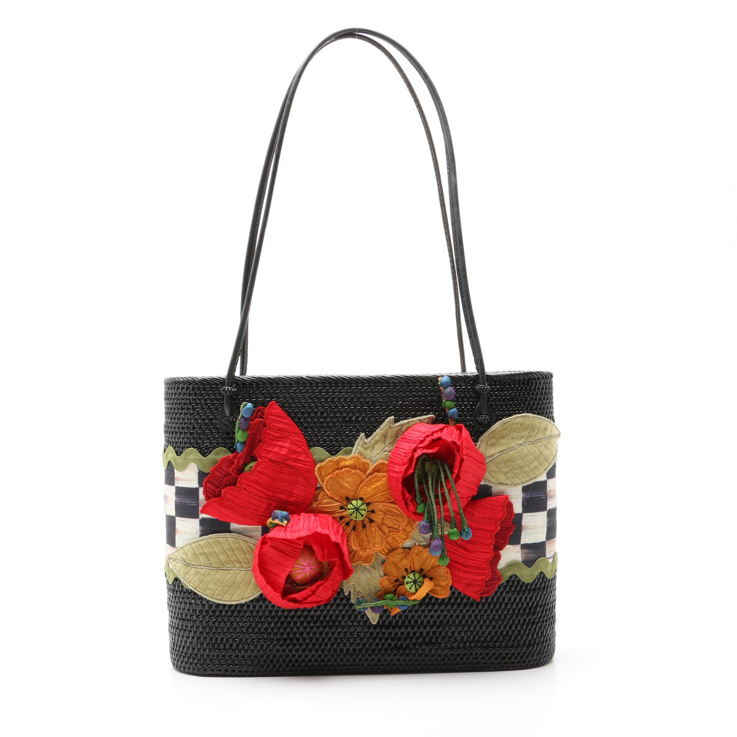 MacKenzie-Childs Floral Embellished Black Woven Wicker Tote