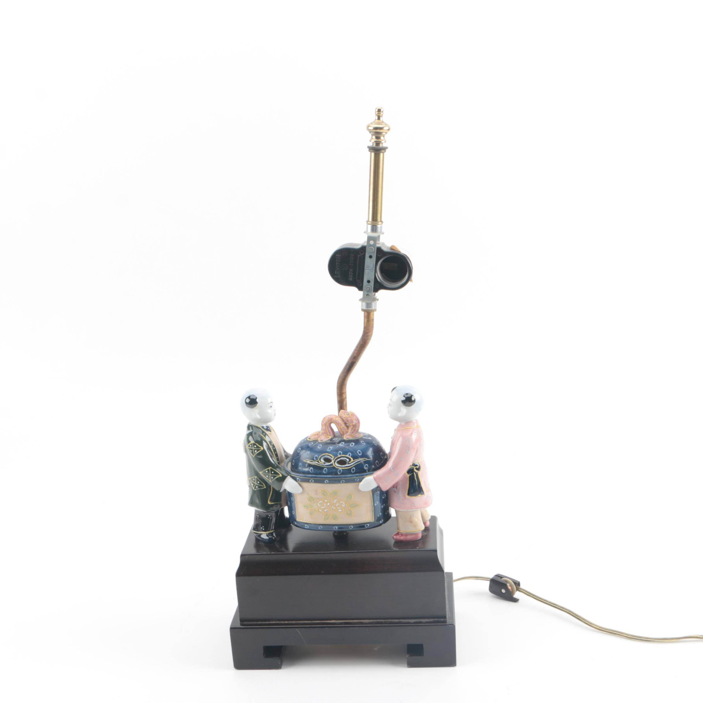 Chinese Inspired Figural with Box Hand Decorated Moriage Porcelain Table Lamp