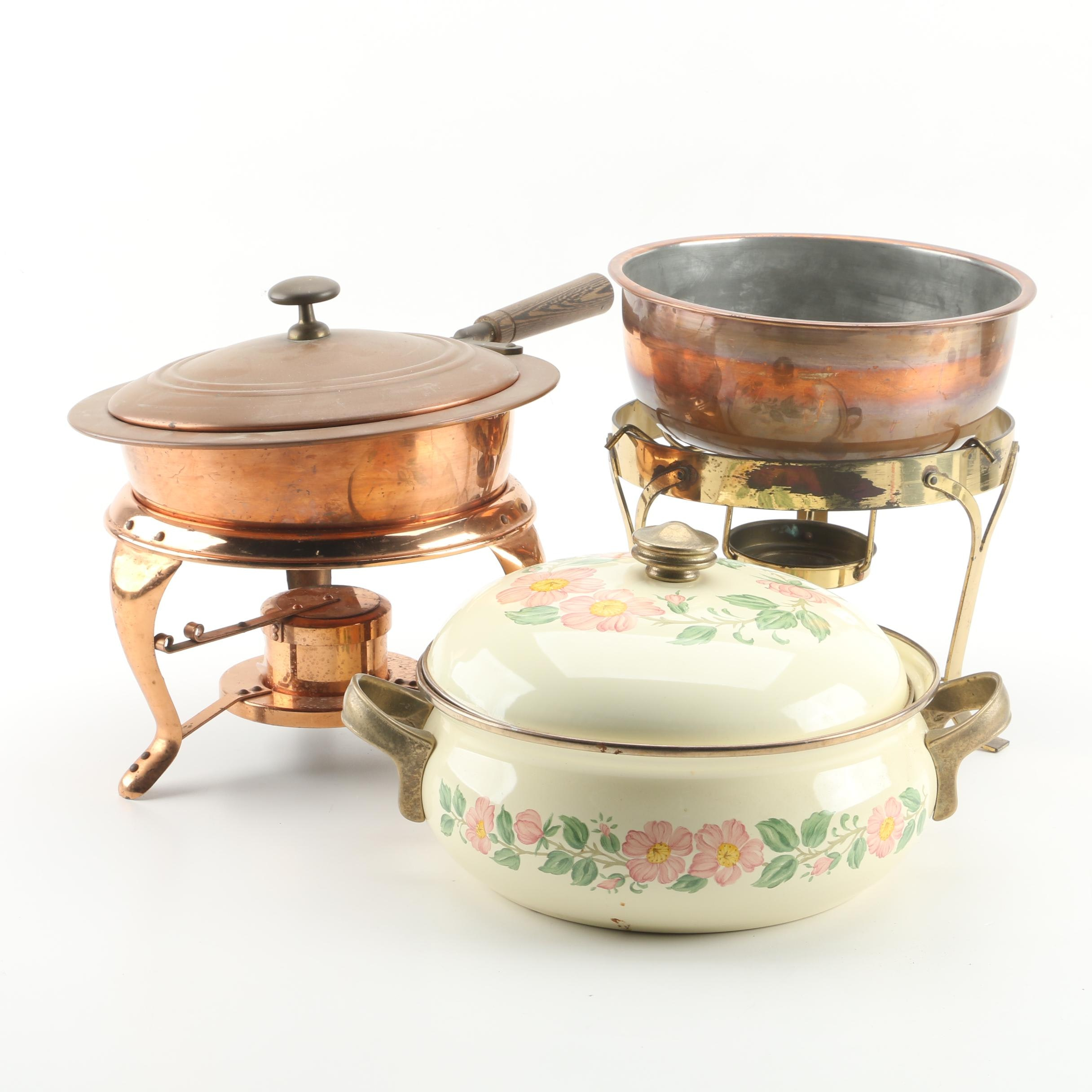 Daalderop Holland Copper and Brass Chafing Dishes with Franciscan Casserole Dish