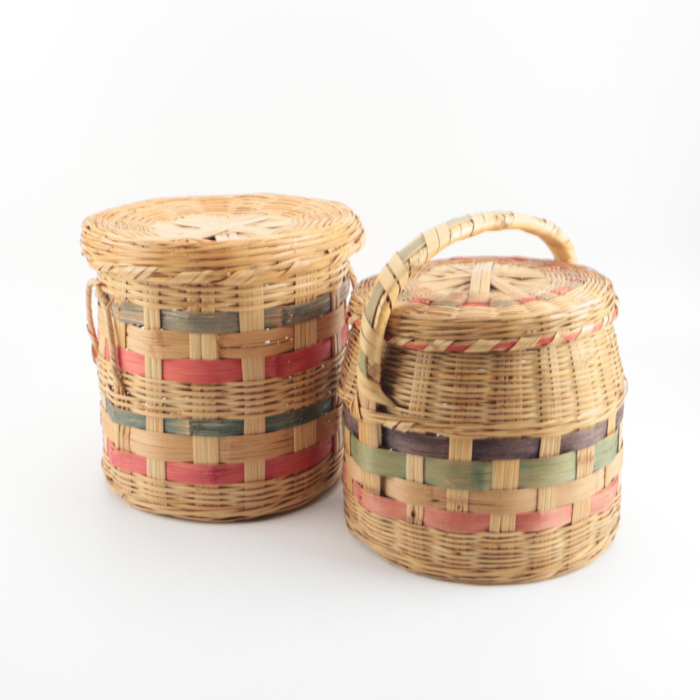 Woven Baskets with Lids