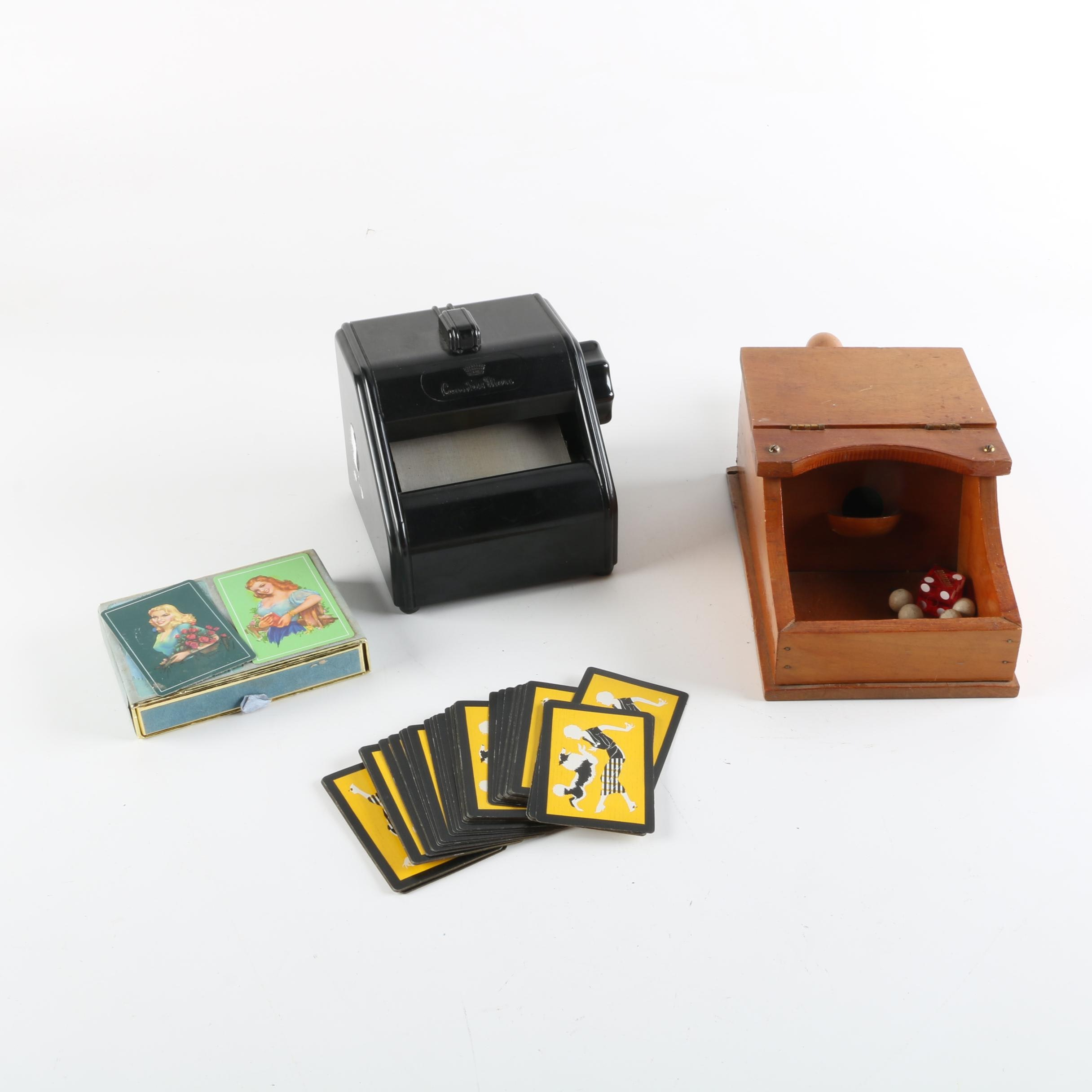 Countess Mara Tie Press with Vintage Playing Cards and Wooden Box Game