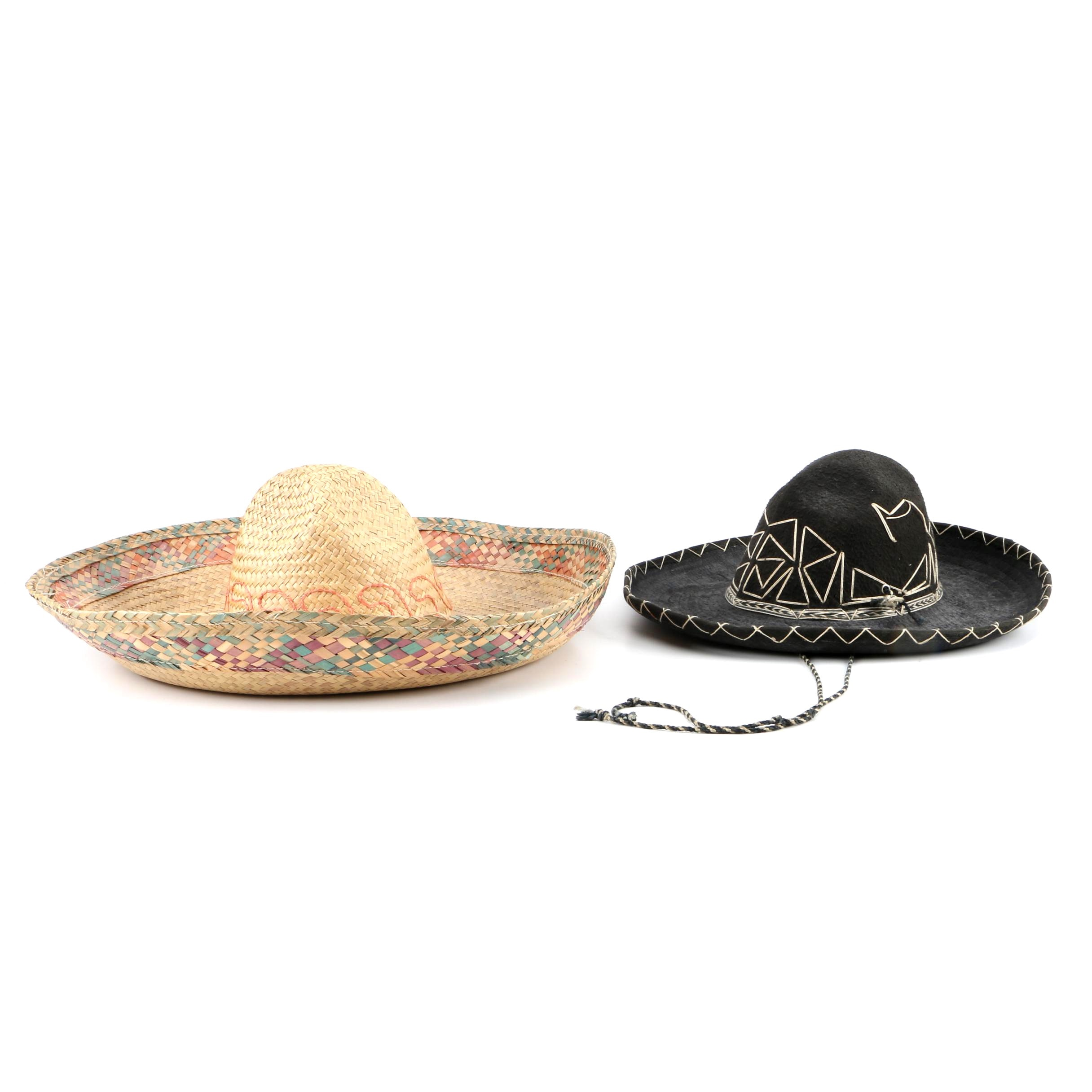 Felt and Straw Mexican Sombreros