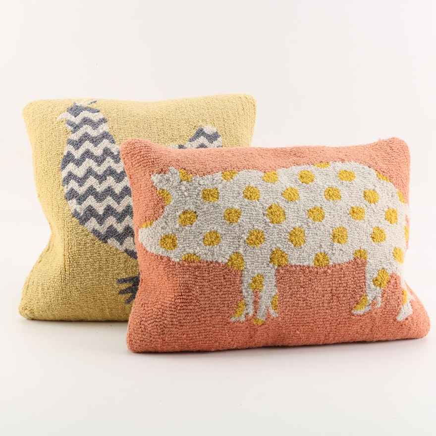 Whimsical Hooked Farm Animal Accent Pillows By Garnet Hill EBTH Interesting Garnet Hill Decorative Pillows