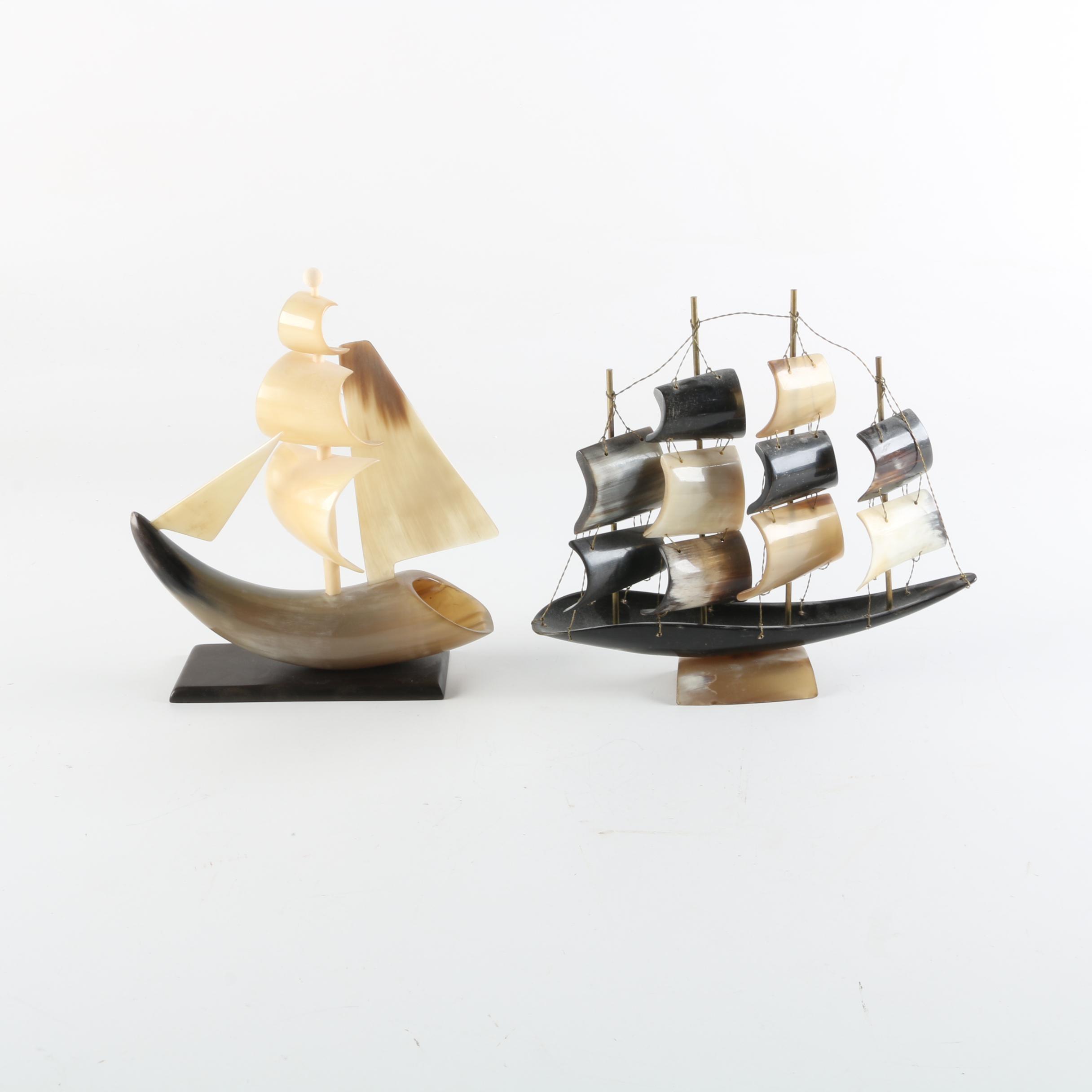 Carved Horn Sculptures of Boats