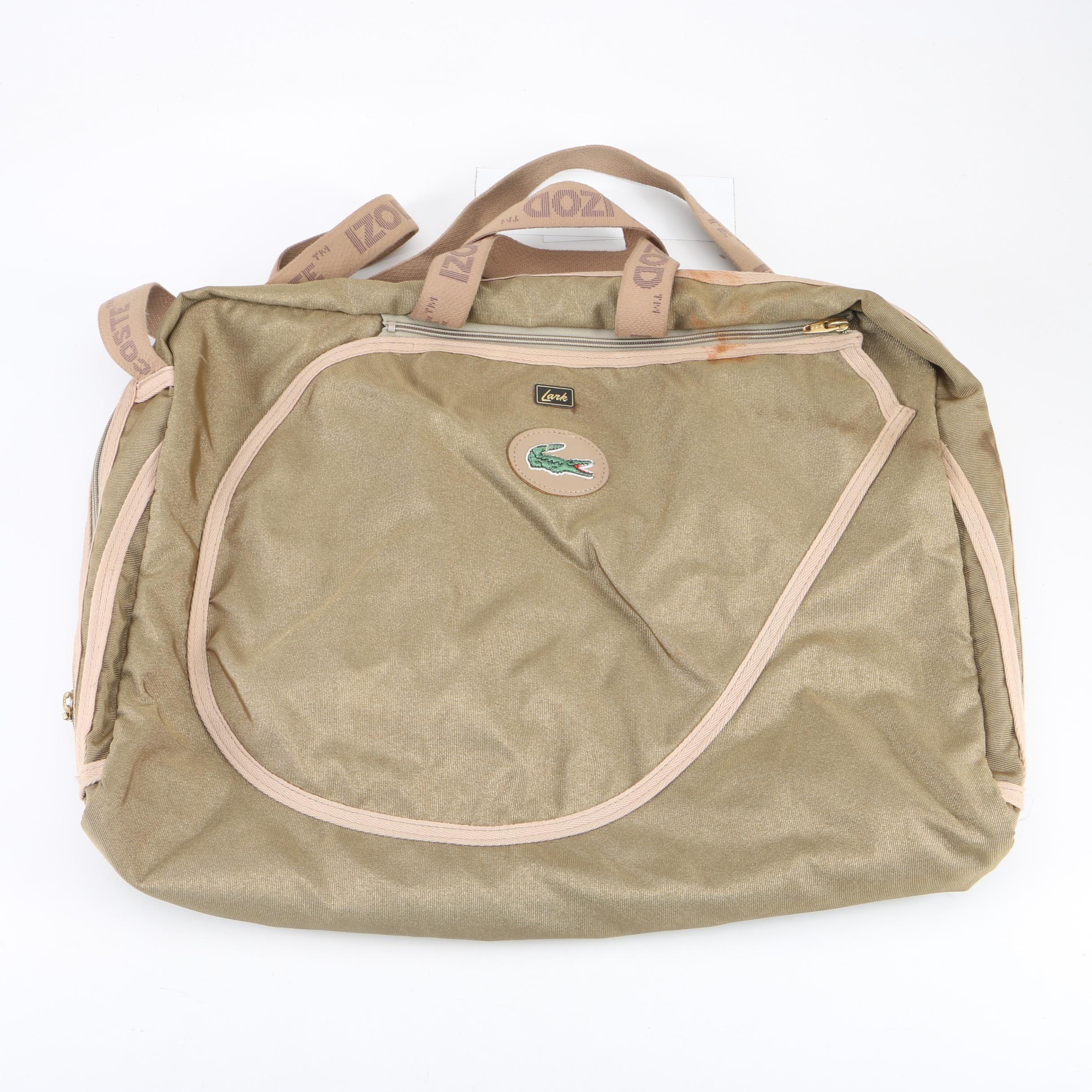 Lacoste Lark Beige Canvas Shoulder Bag with Garment Hanger