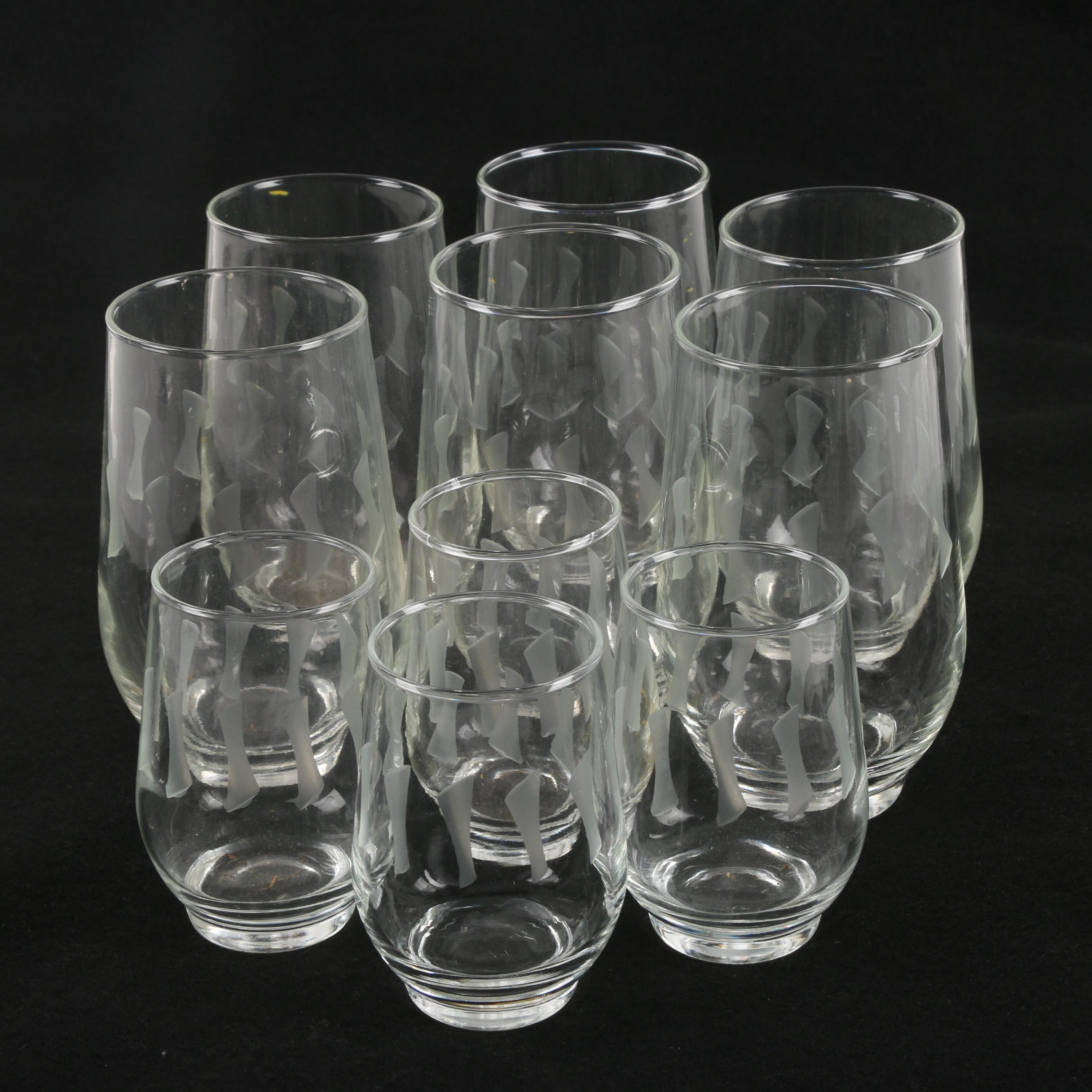 Water and Juice Glasses with Etched Geometrical Pattern