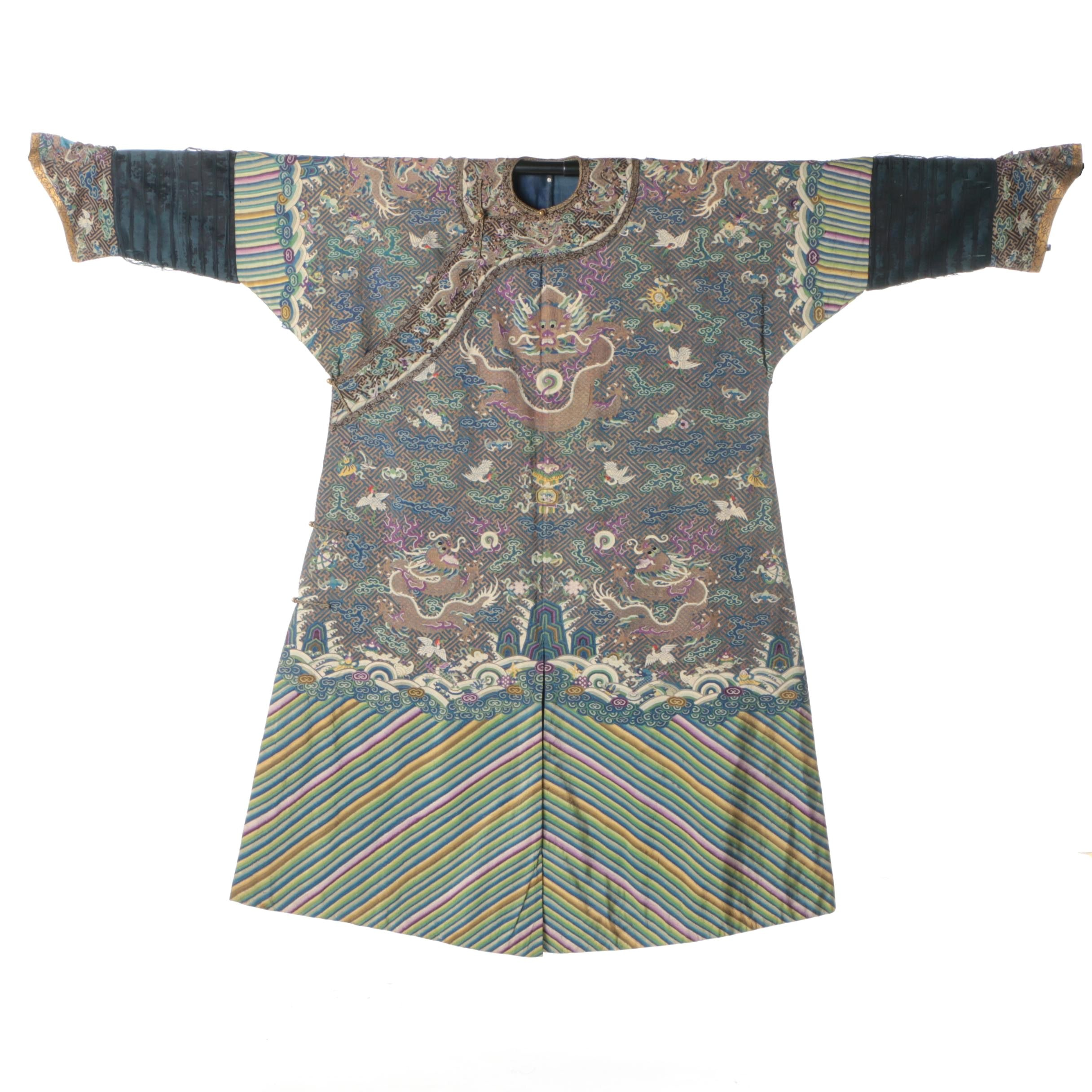 Antique Chinese Embroidered Silk Jifu Robe