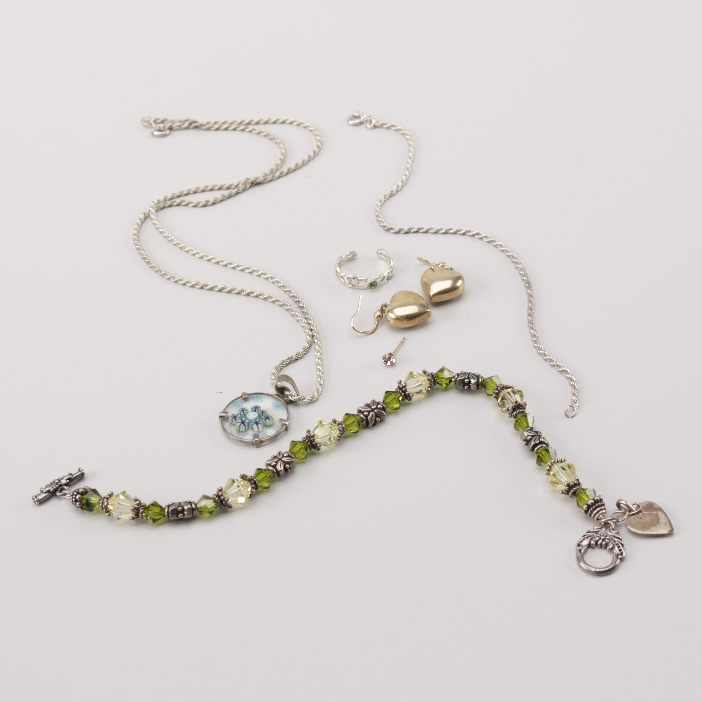 Sterling Silver and 14K Gold Glass and Foilback Jewelry