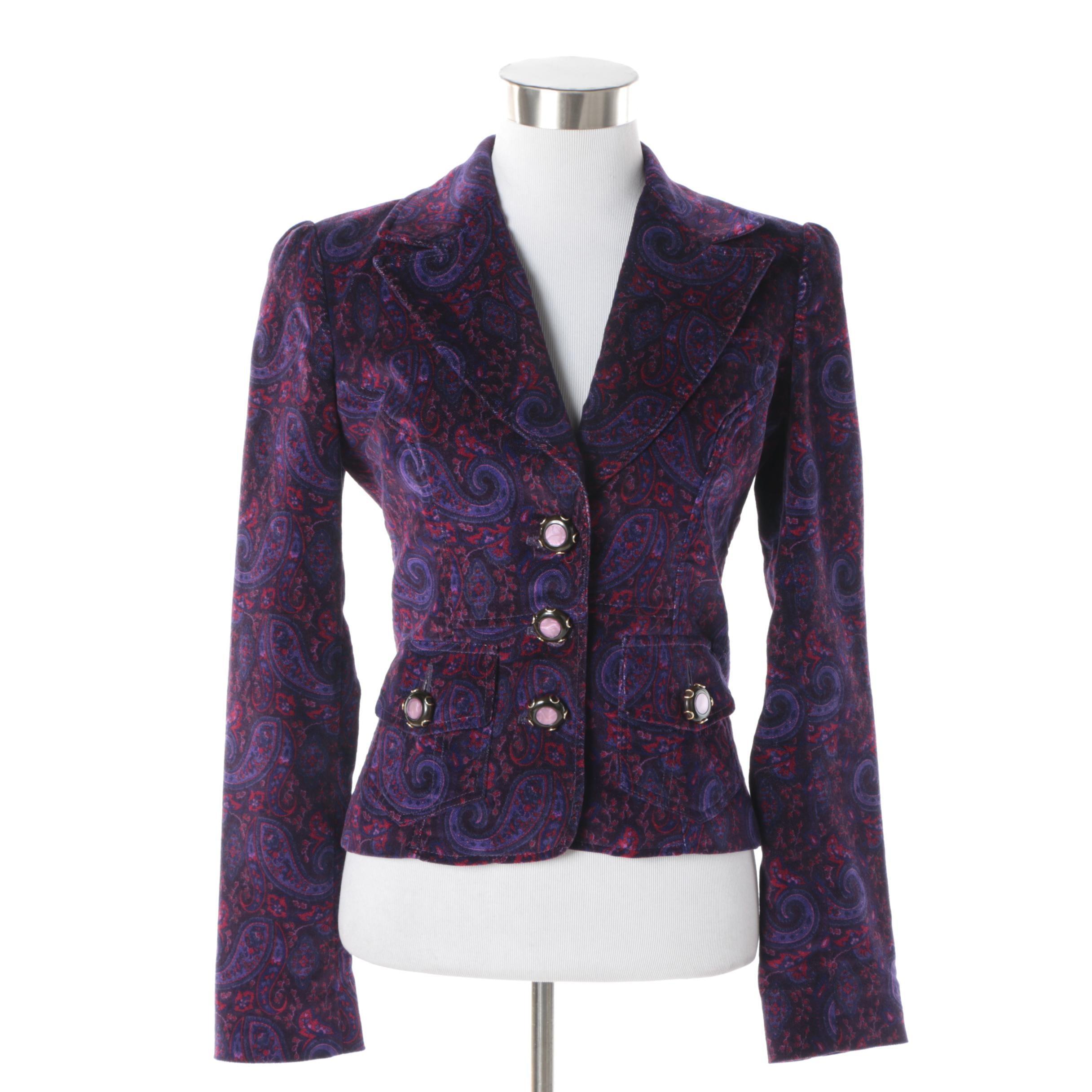 Women's Dolce & Gabbana Purple Paisley Velvet Jacket