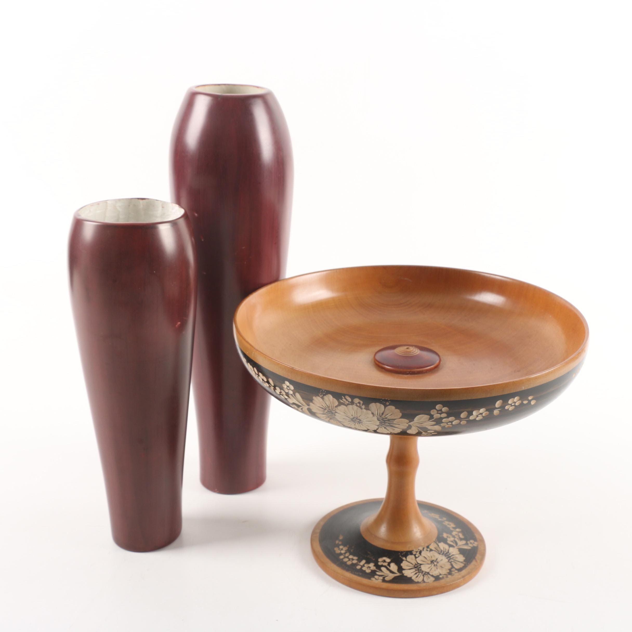 Carved Wood Vases and Compote