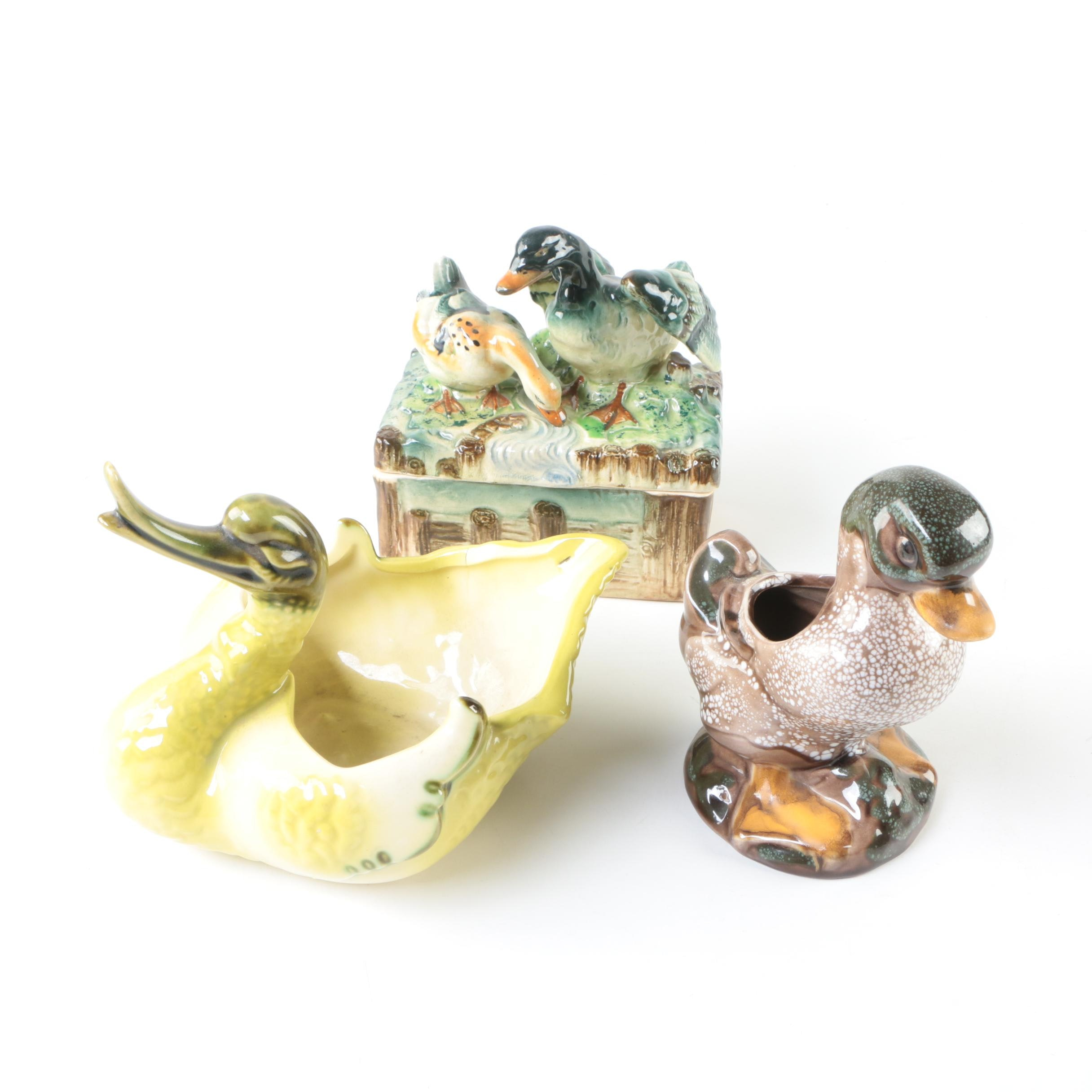 Vintage Ceramic Duck Themed Planters and Trinket Box