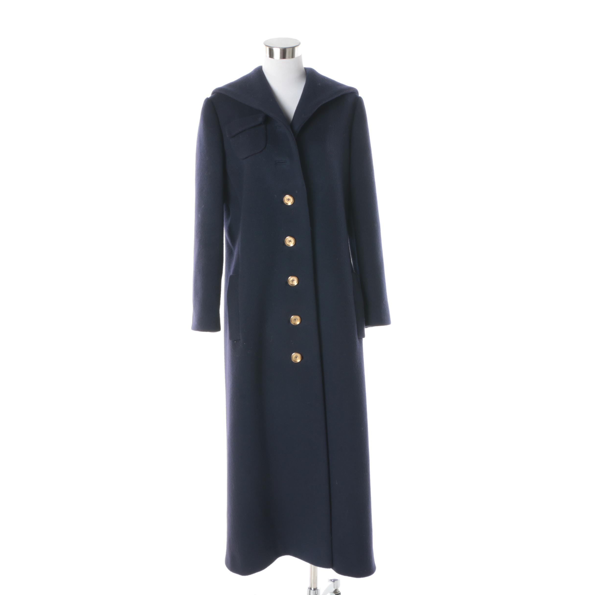 Women's Vintage Rodrigues Navy Blue Wool Coat