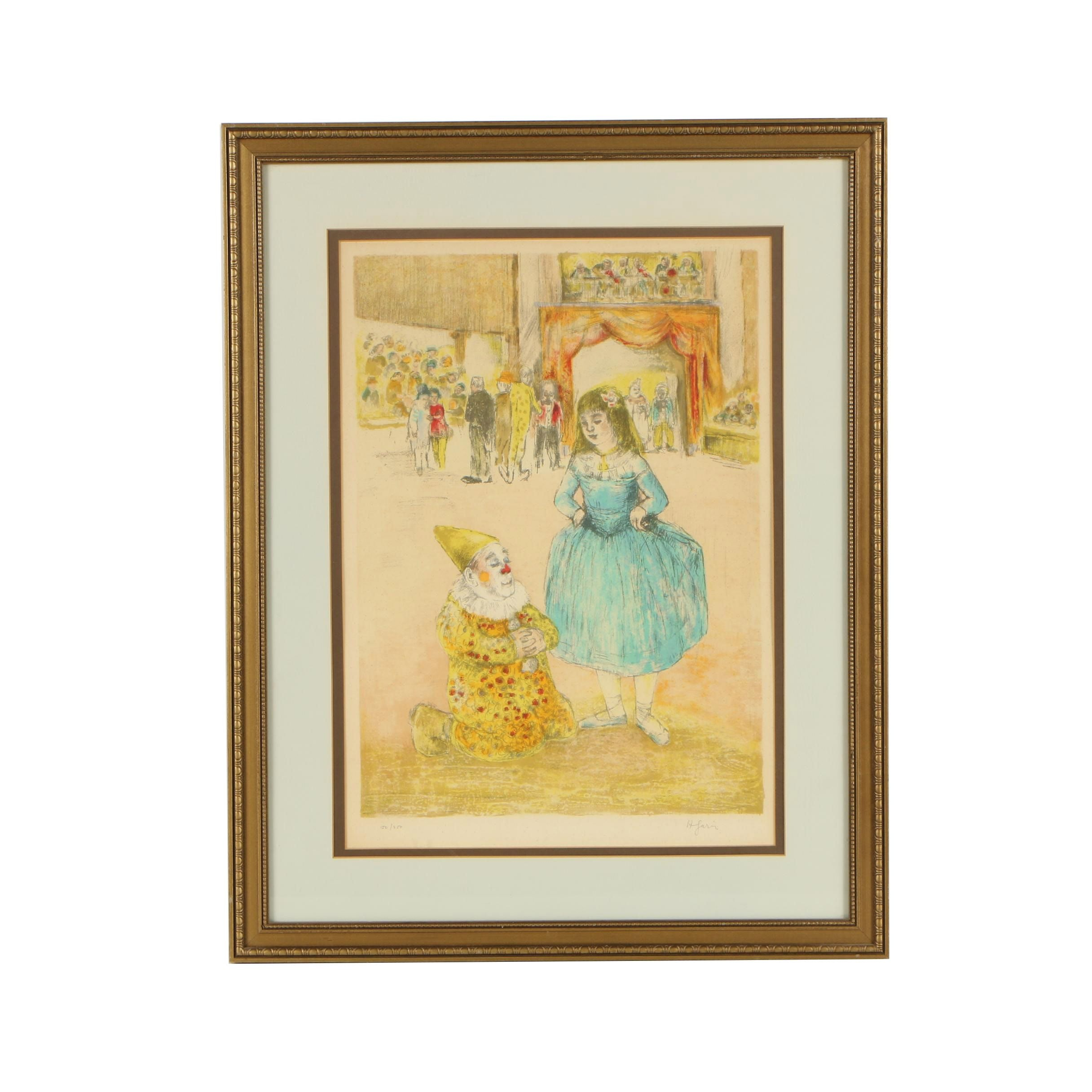 Color Lithograph of a Girl and Clown