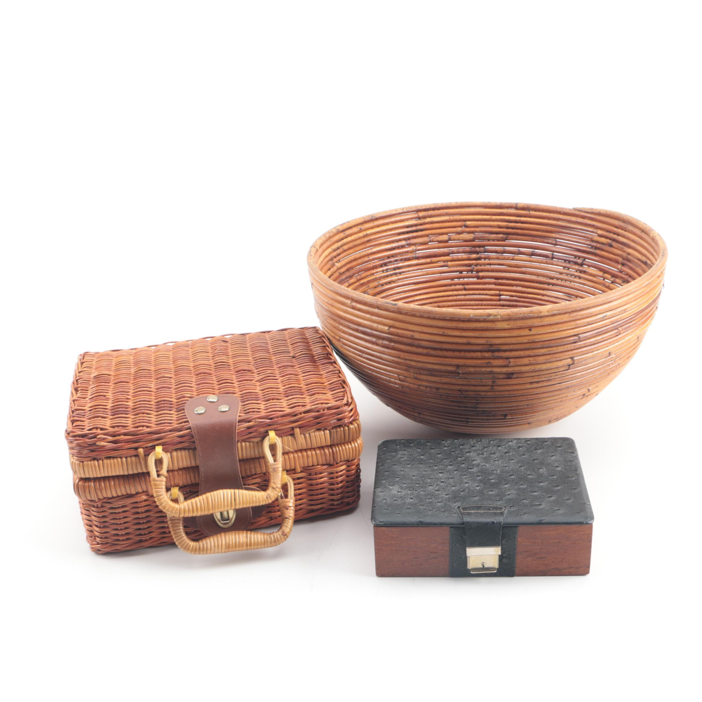 """Schylling """"Madeline"""" Picnic Basket with Tea Set and Handmade Bamboo Bowl"""