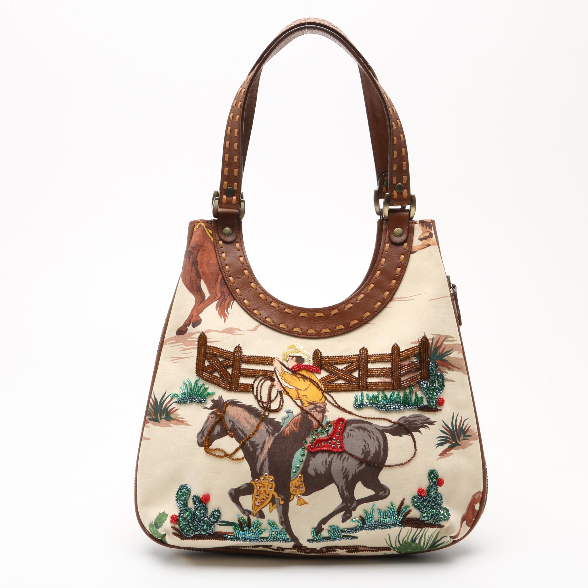 Isabella Fiore Cowboy Motif Shoulder Bag Embellished with Beads