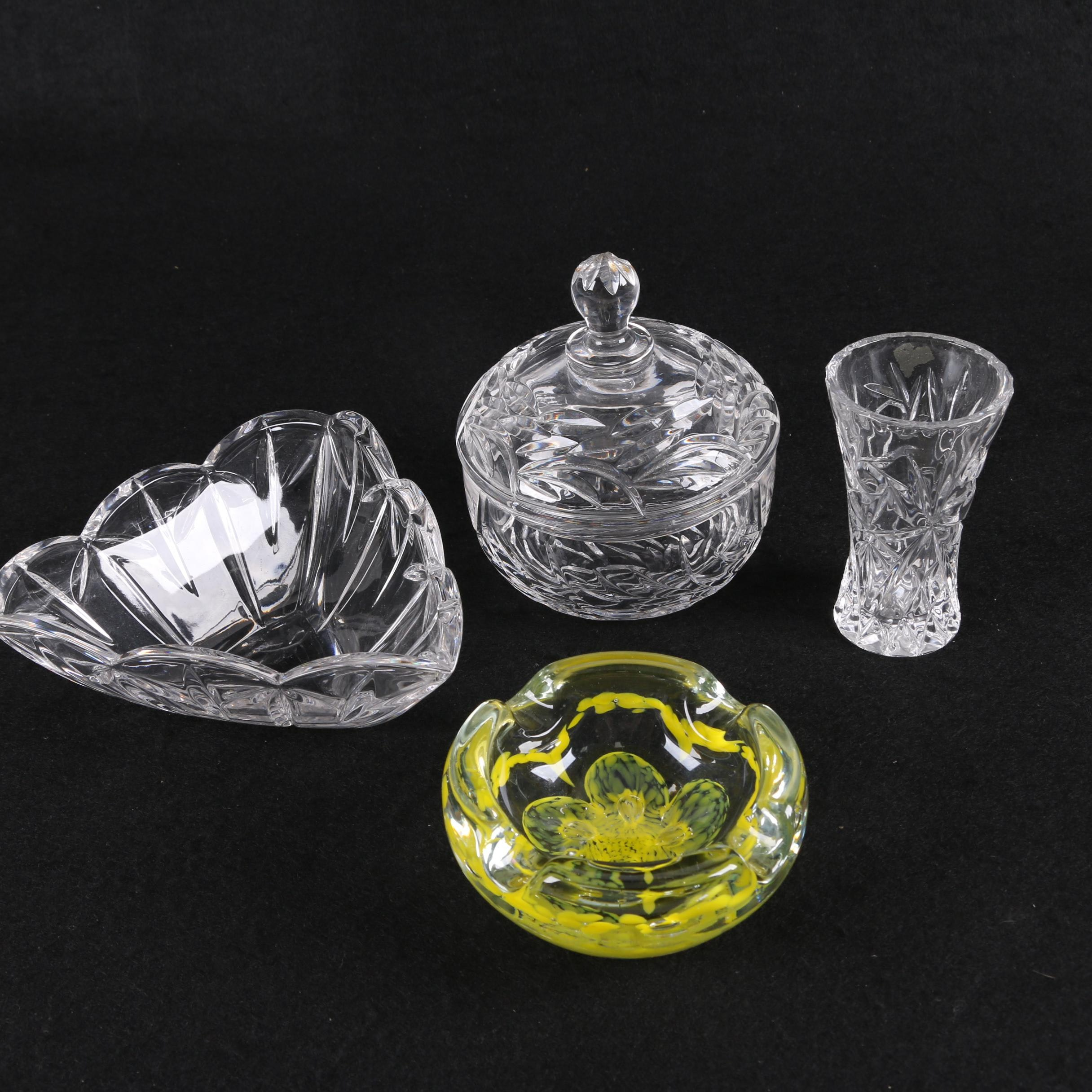 Art Glass Ash Receiver and Cut Glass Decor Including a Candy Dish and Vase
