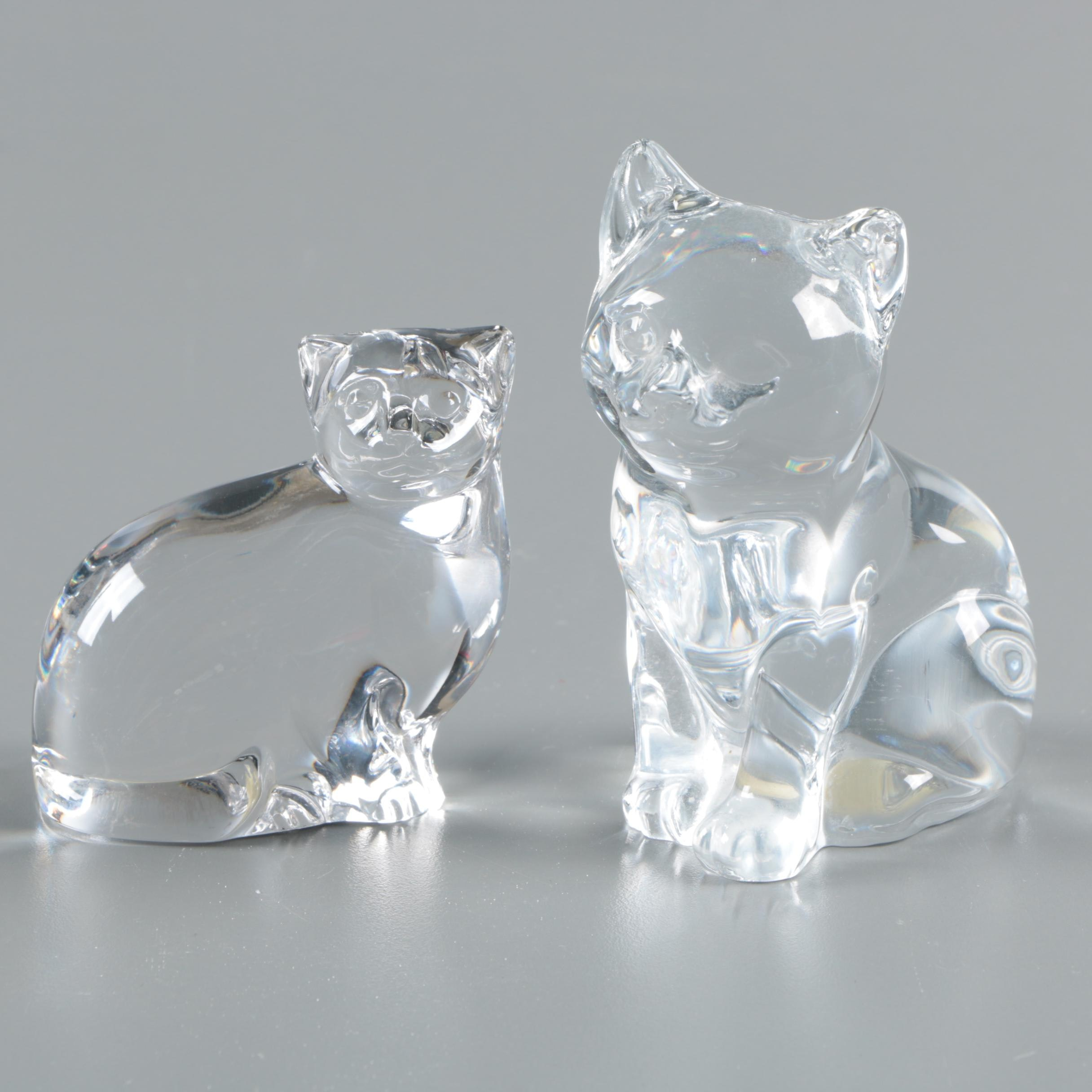 Villeroy & Boch and Princess House Crystal Cat Figurines