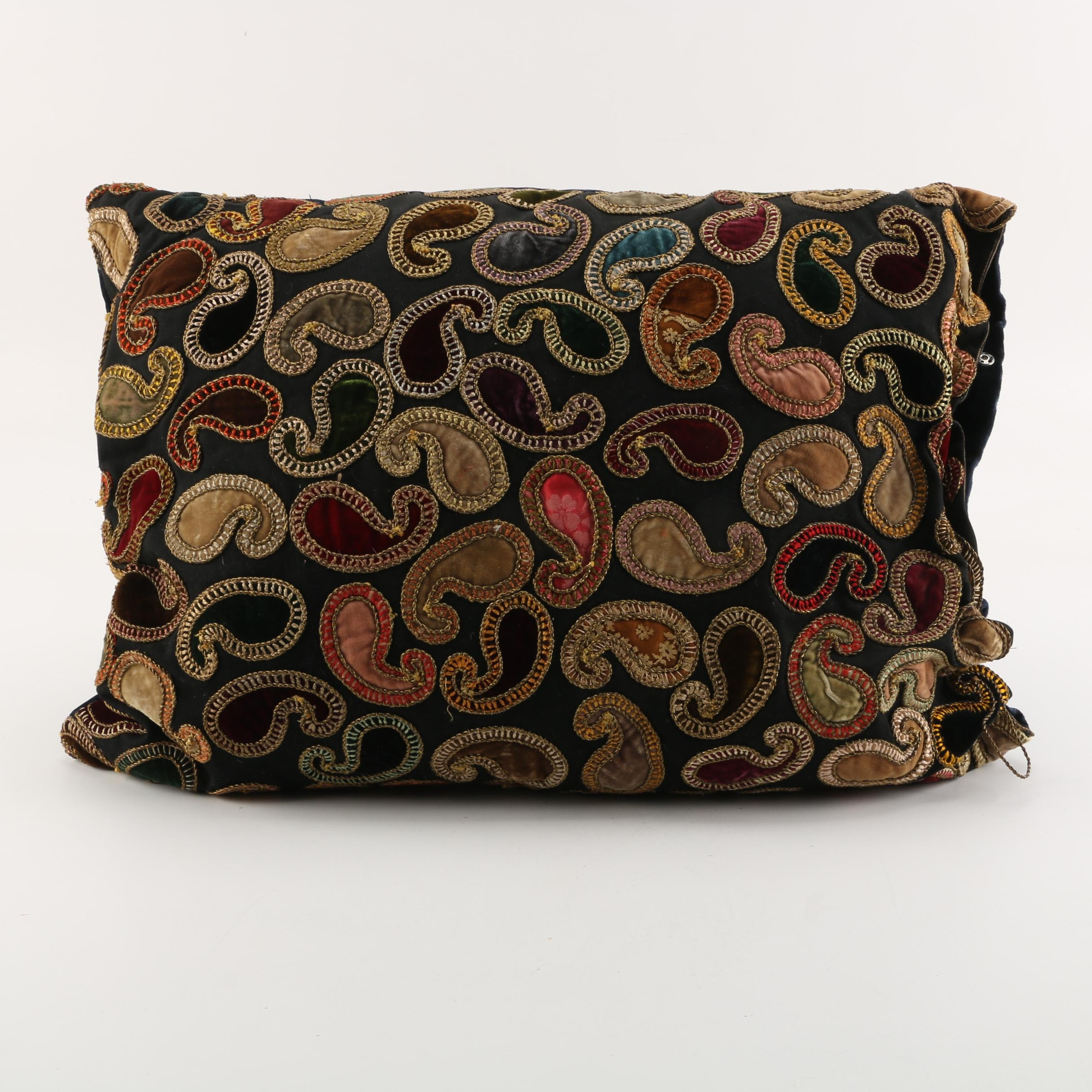 Embroidered Paisley Accent Pillow