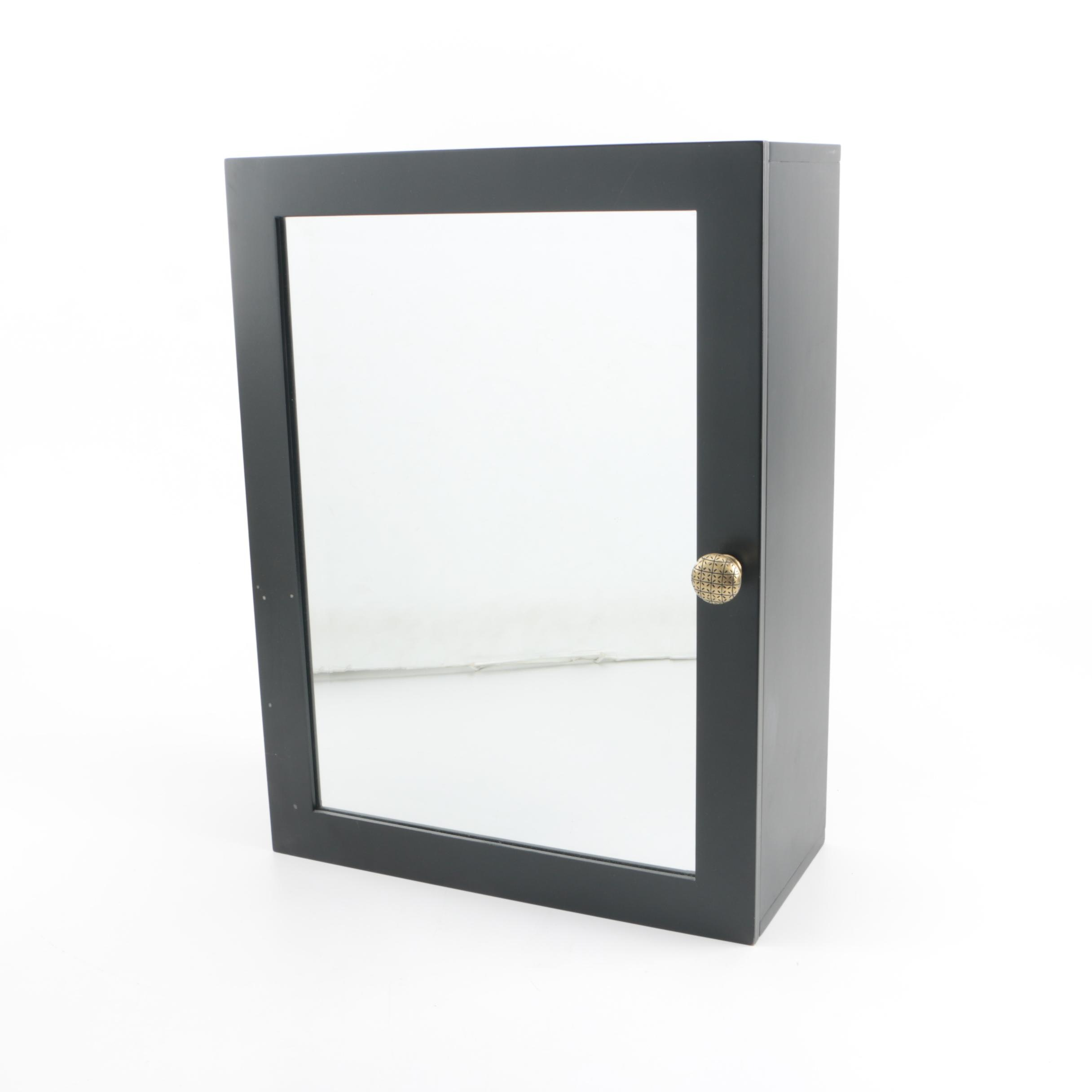 Contemporary Black Lacquered Wall Mount Cabinet with Mirrored Front Panel