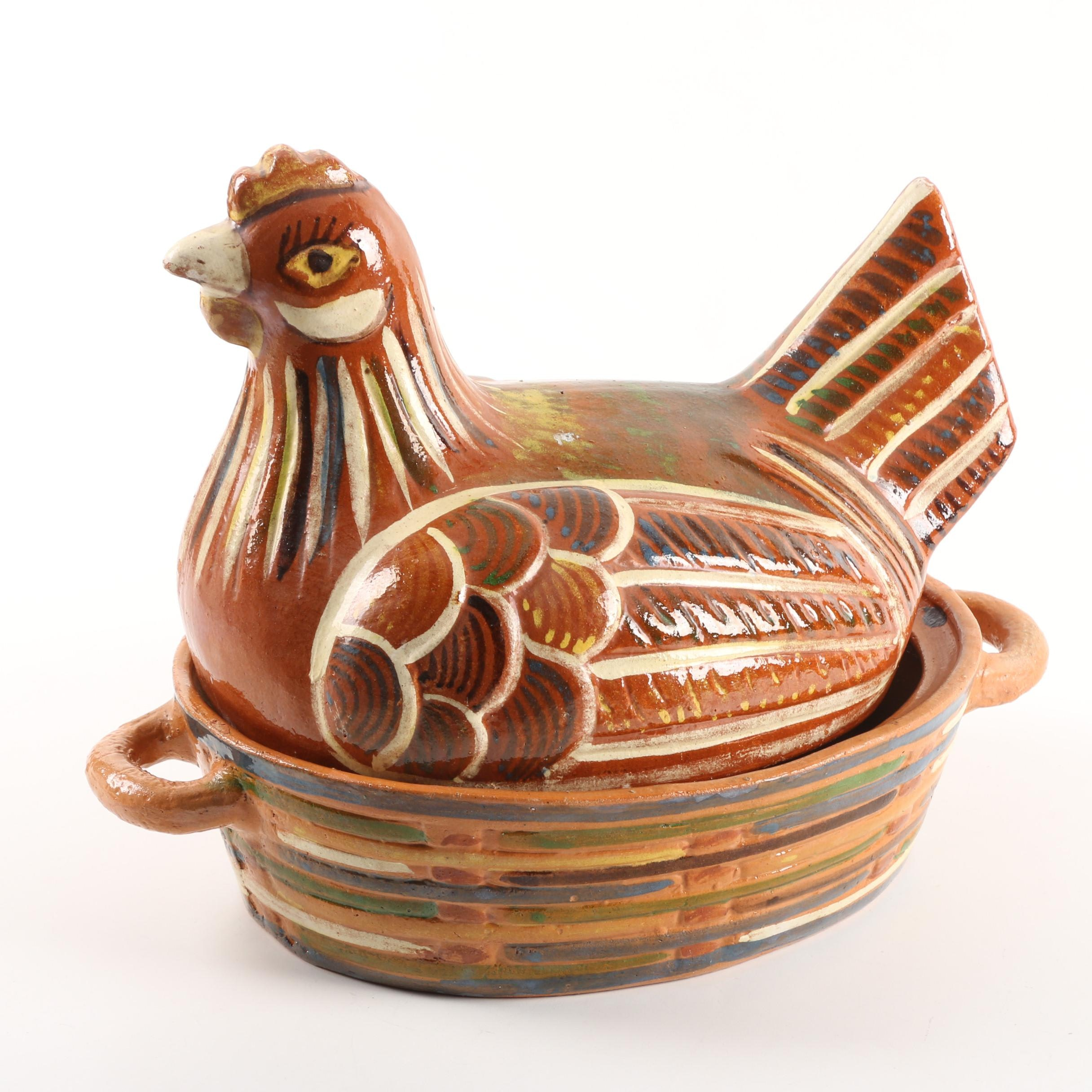 Vintage Mexican Hand-Painted Hen on Nest Terracotta Covered Casserole Dish