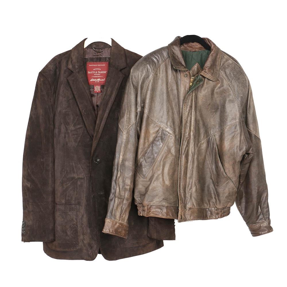 Men's Eddie Bauer Brown Suede Jacket and John Ashford Light Brown Leather Jacket