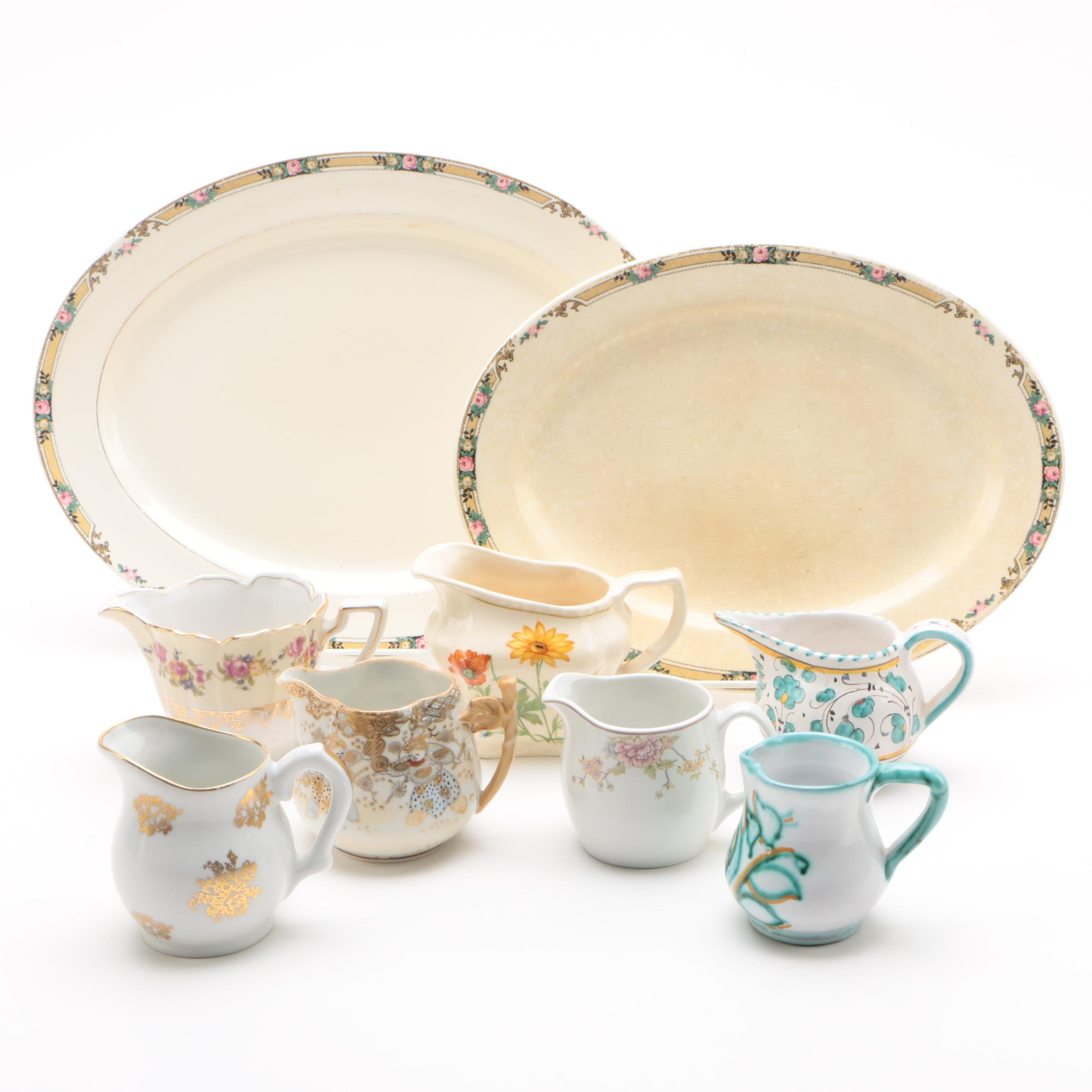 Mount Clemens Porcelain Platters and Vintage Creamer Jugs Featuring Steubenville