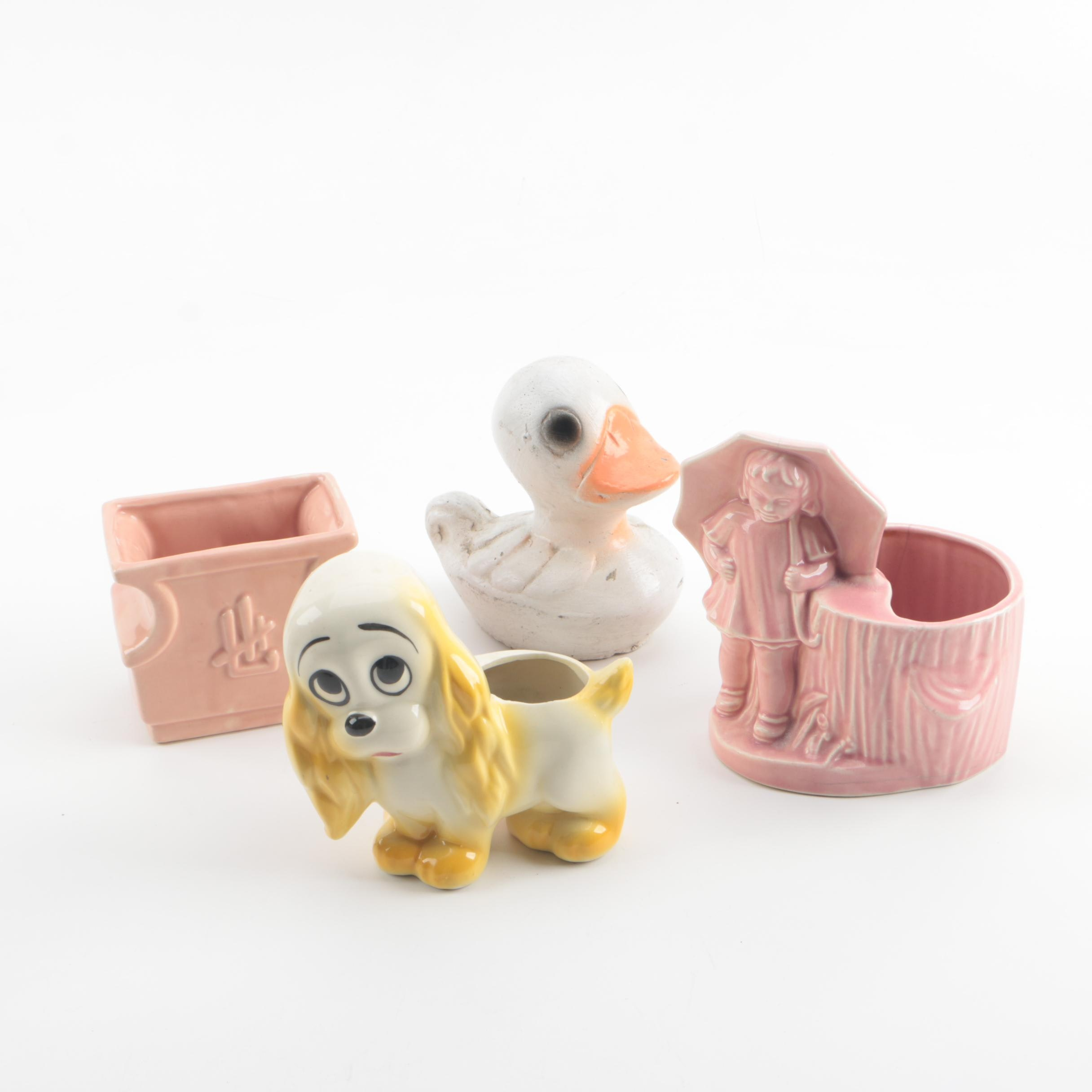Vintage Ceramic Figurative and Chinoiserie Style Planters with Concrete Duck