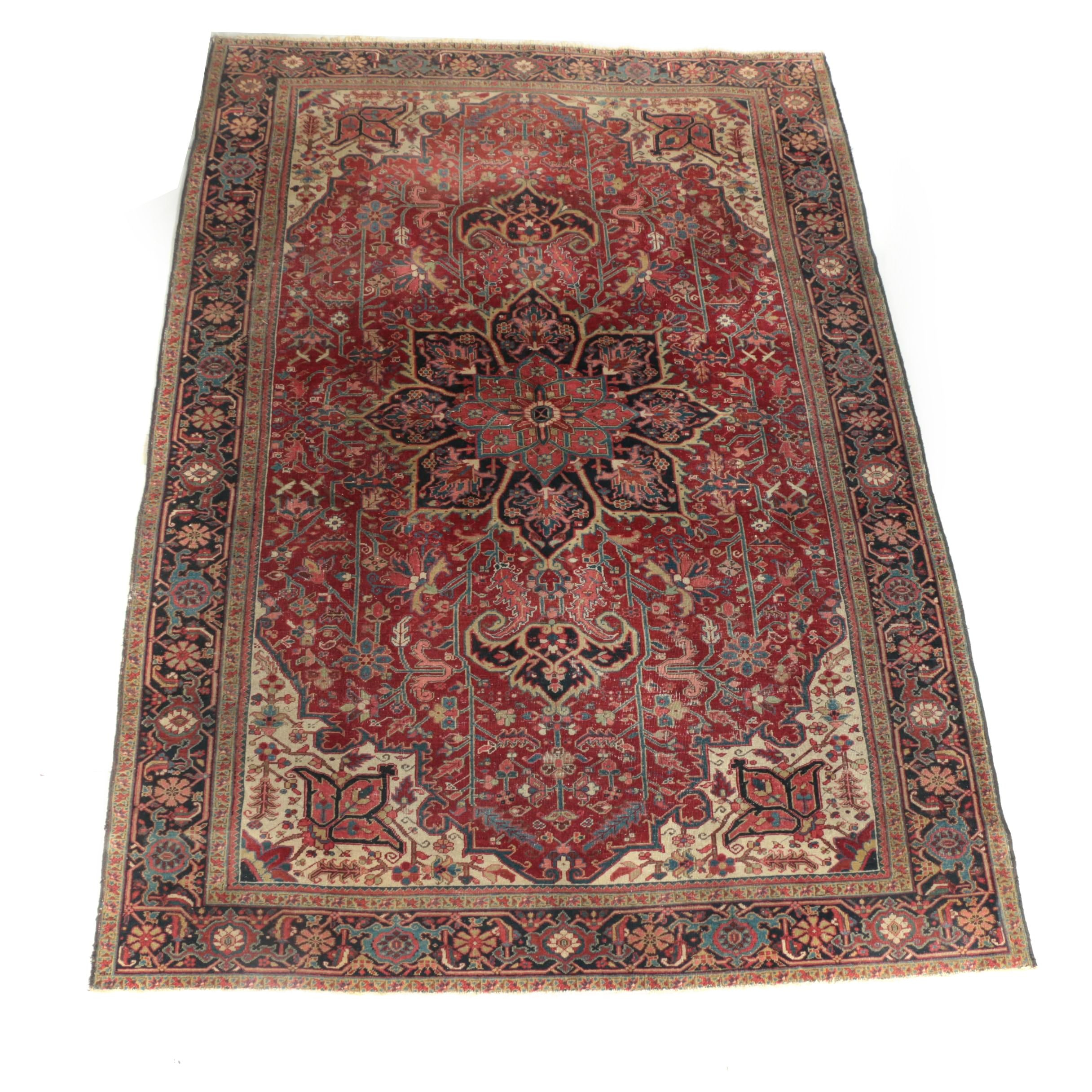 Antique Hand-Knotted Persian Heriz Wool Area Rug