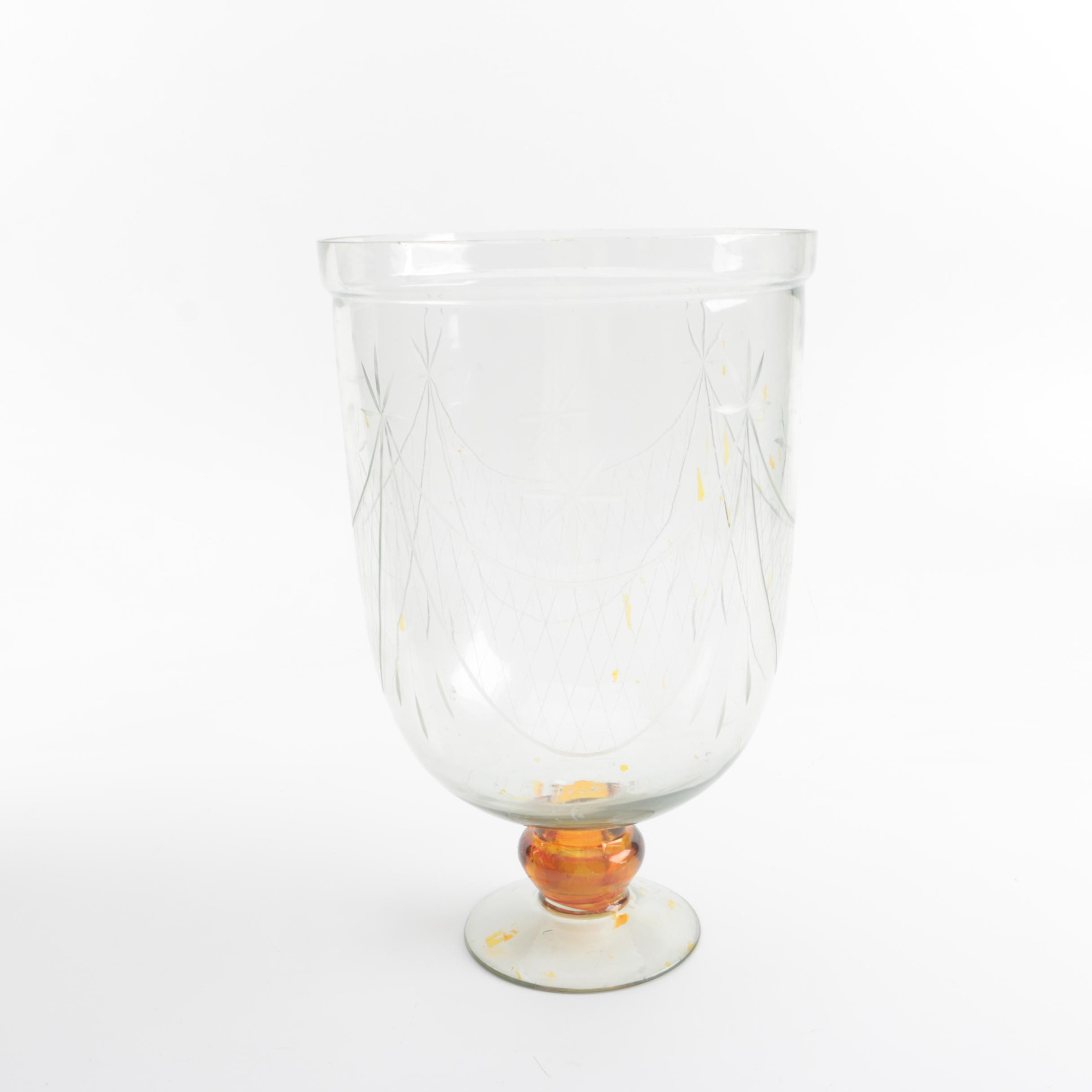 Flashed Floral Etched Glass Footed Vase