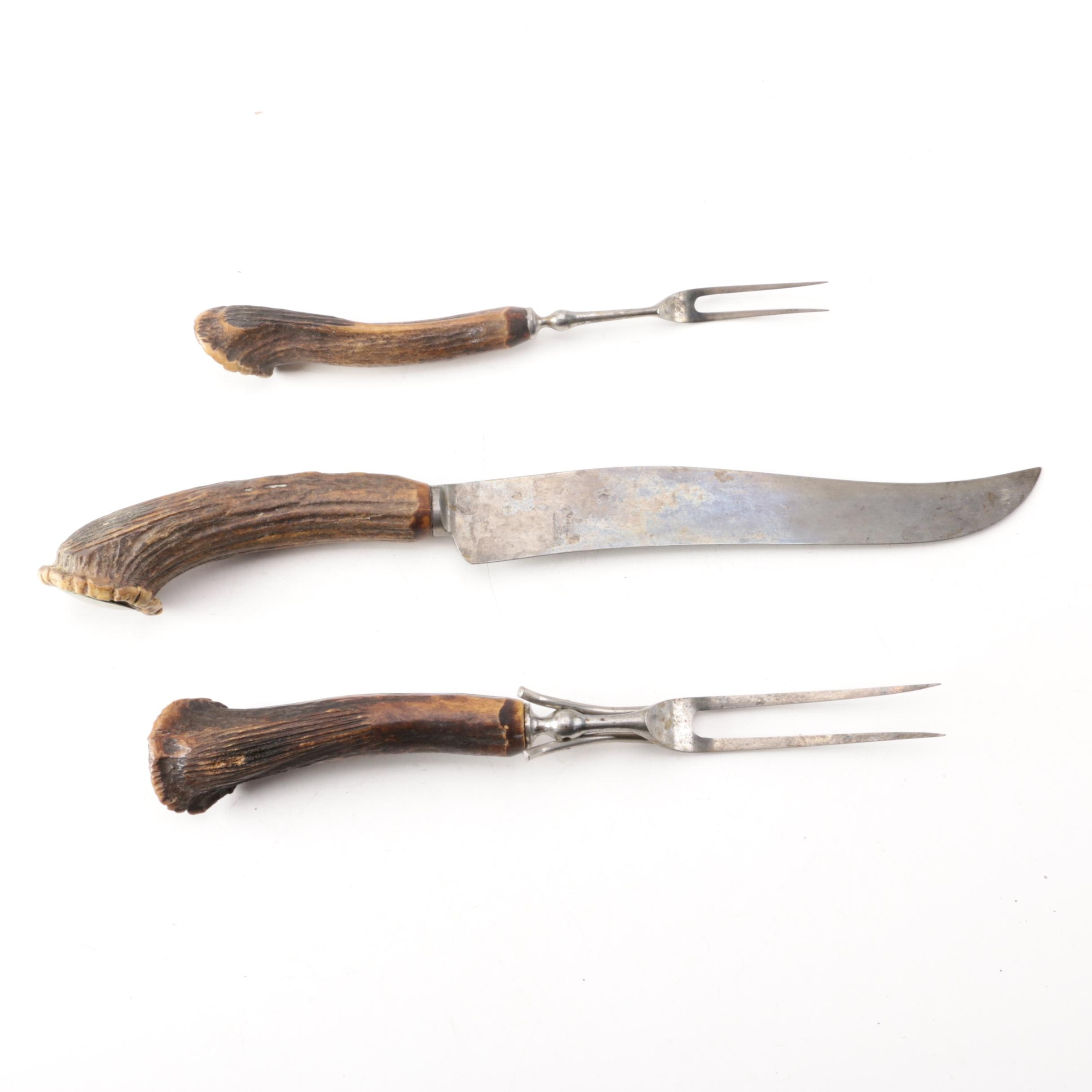 Keen Kutter Antler Handled Three-Piece Stainless Steel Carving Set