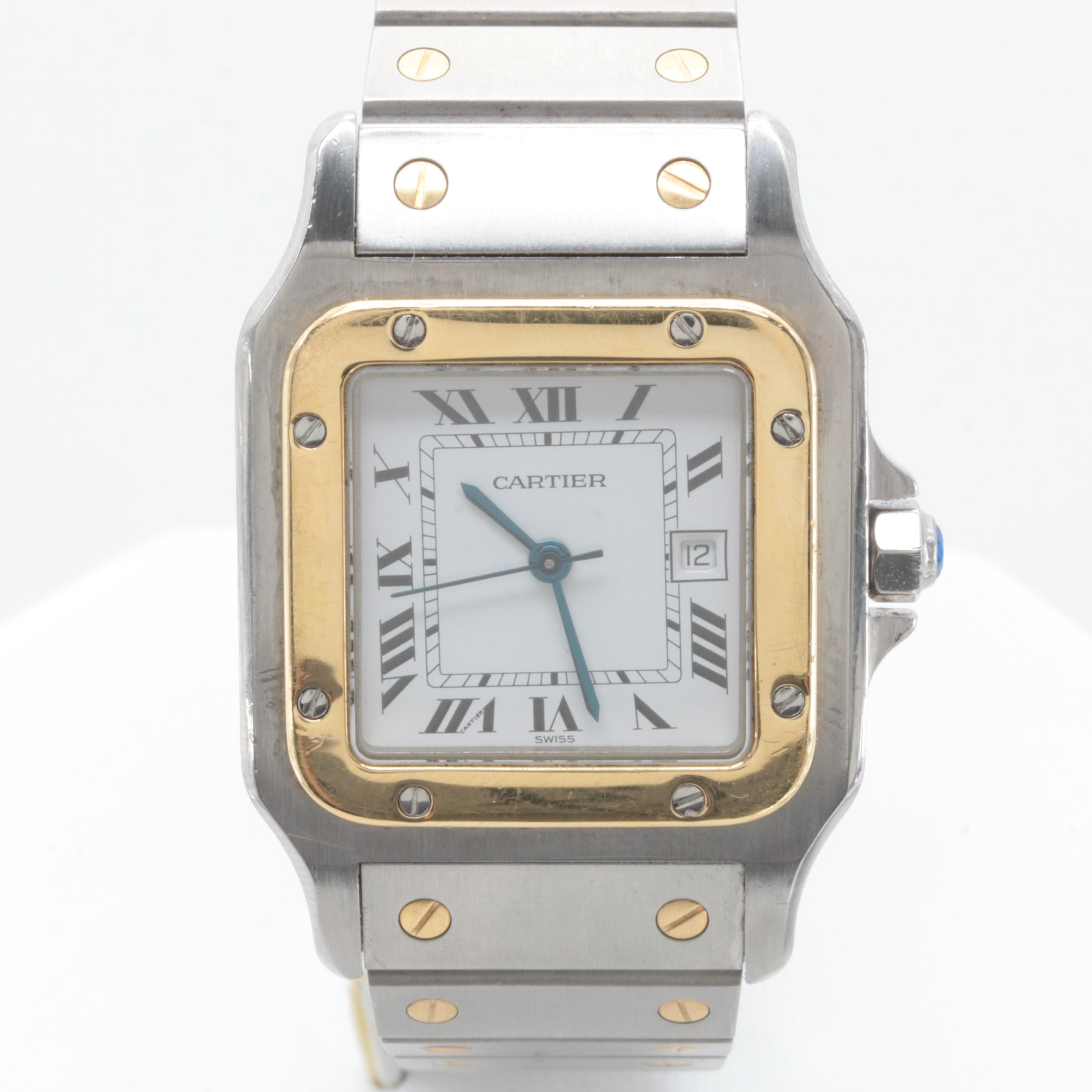 Cartier Automatic Santos Stainless Steel and 18K Yellow Gold Wristwatch