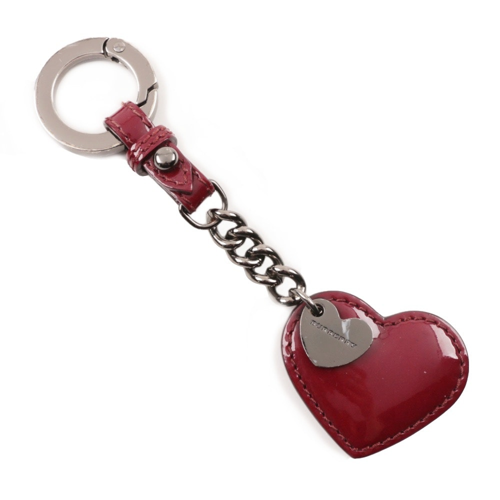 Burberry Burgundy Patent Leather and Chain Heart Key Fob