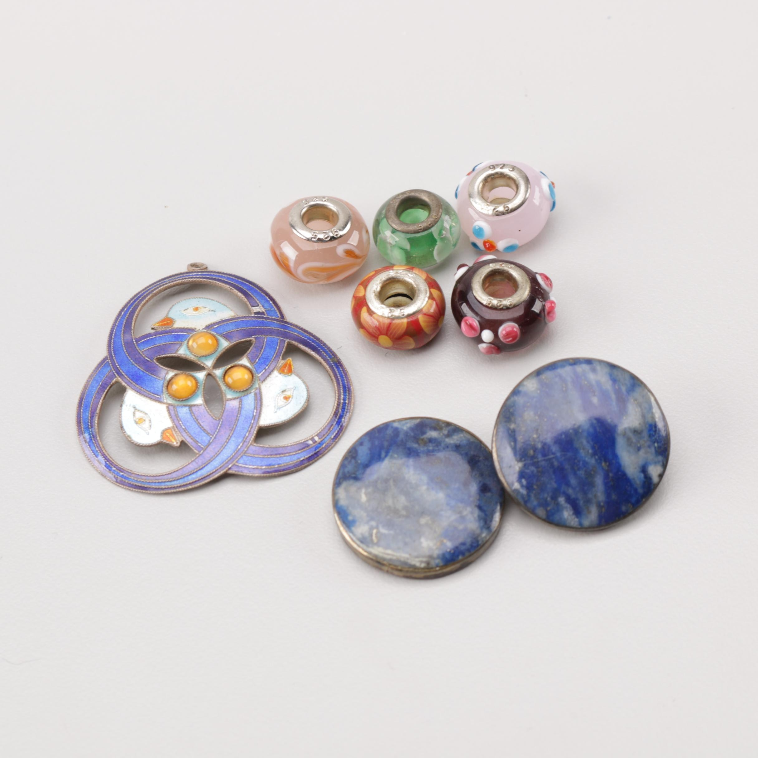 Sterling Silver Lapis Lazuli, Glass and Enamel Jewelry