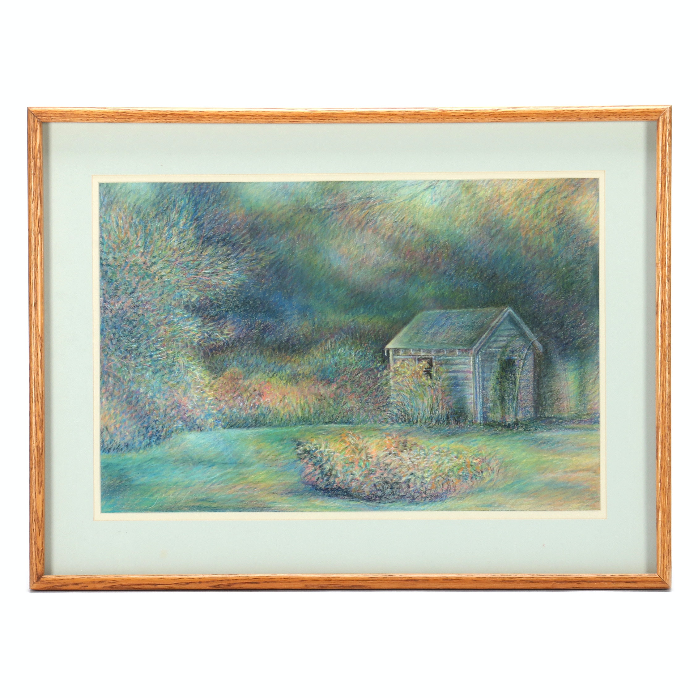 Marlana Stoddard Original Pastel Drawing of Shed in Landscape