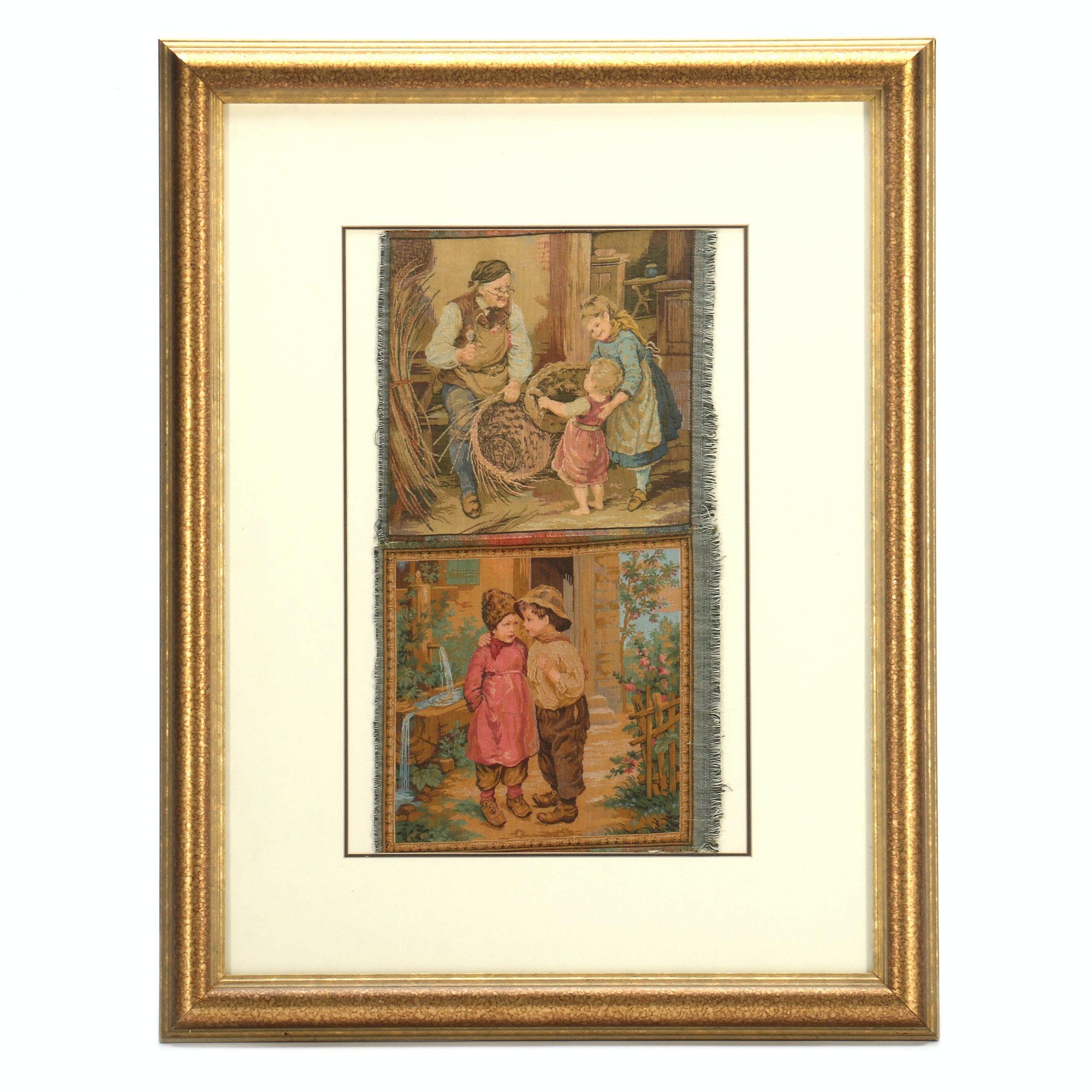 Framed Tapestry Panels Featuring Genre Scenes